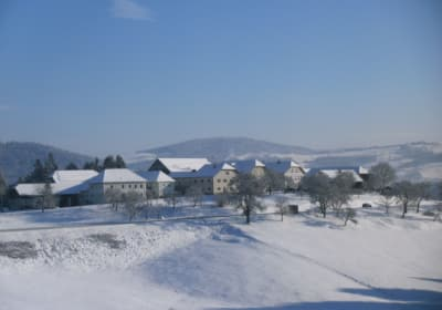 An idyllic village in winter