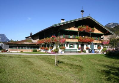 Unser Bauernhaus wurde im Jahre 1824 nach einem Brand so gebaut, wie es hier steht. Der runde Stallbau (links) wurde 2002 errichtet.