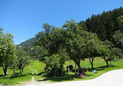 Obstgarten und Spielplatz
