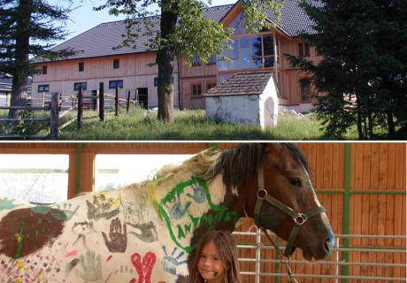 Hof im Grünen, Kind schmust mit bemaltem Pferd