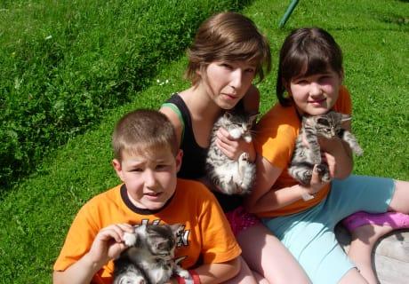 Unsere Kinder mit jungen Katzen.