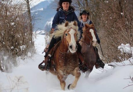 Winterreiten im Schnee