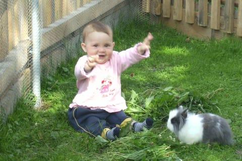 Lena with rabbit