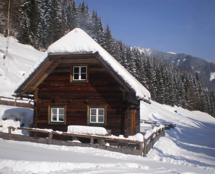 Teichhütte im Winter