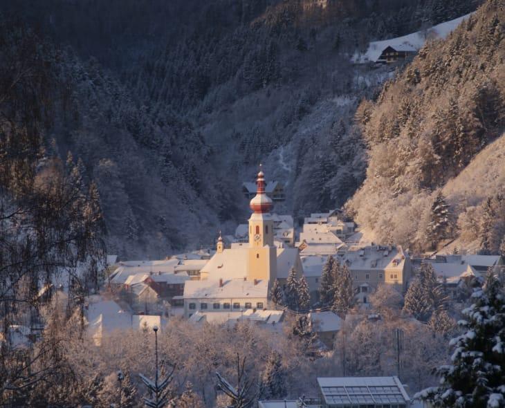 Aussicht vom Balkon im Winter