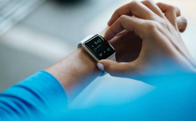Apple smartwatch on on wrist
