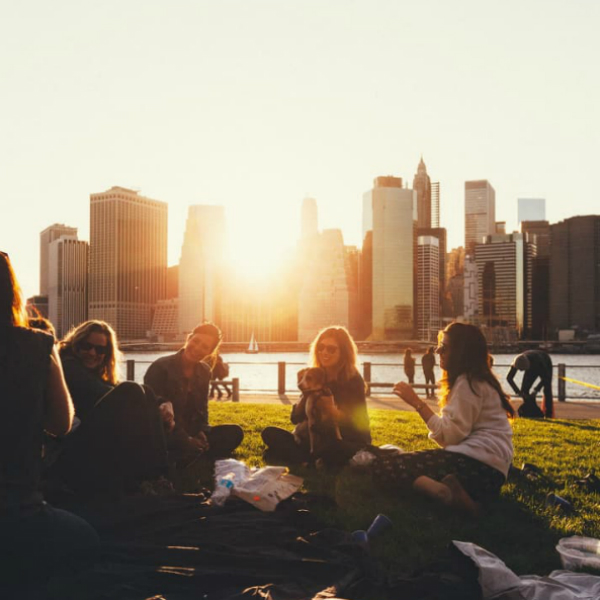 People having lunch in a park with a city in the background