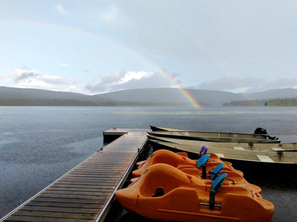 rainbow and pedalo