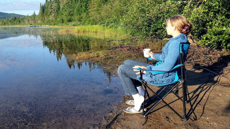 cup of tea by the lake