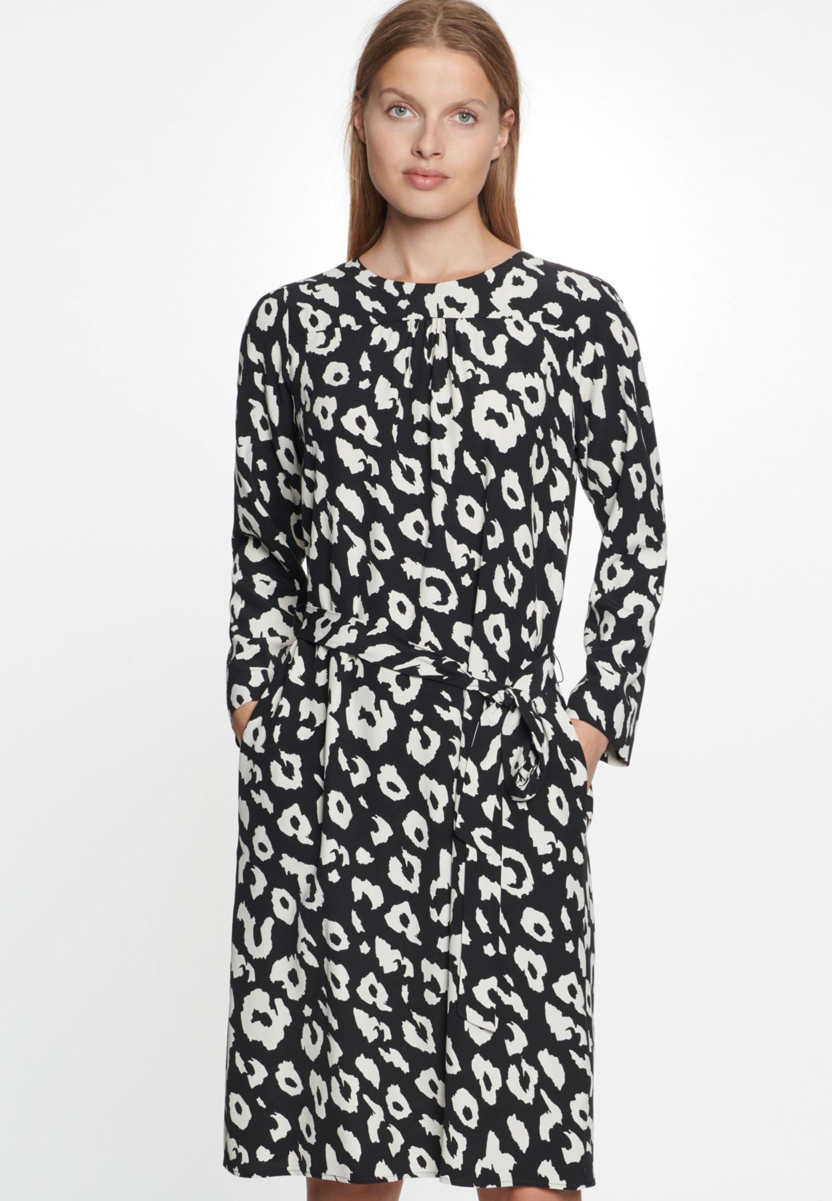 Damen Krepp Midi Kleid aus 100% Viskose schwarz 60.529802 ...