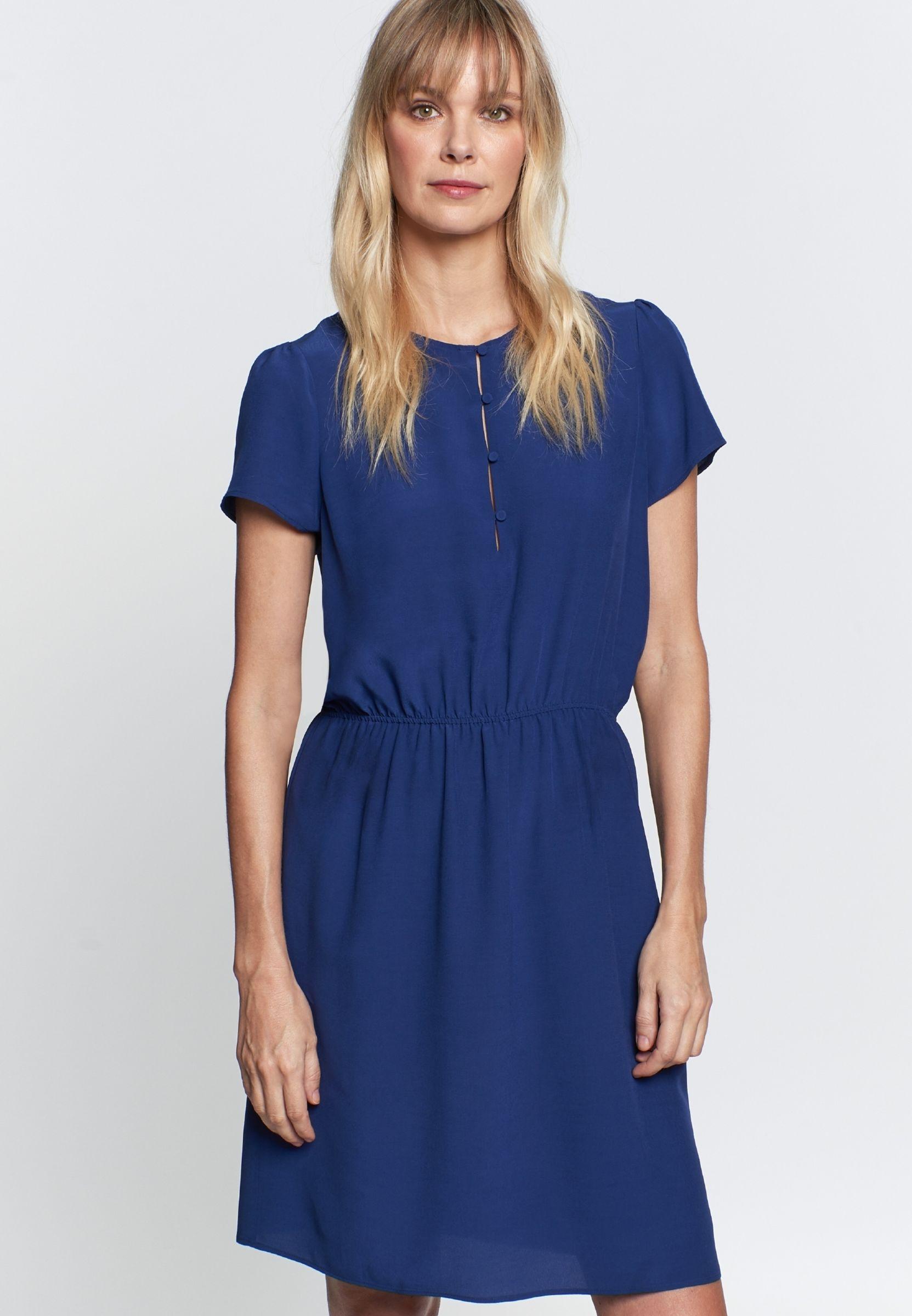 Damen Krepp Midi Kleid aus 100% Viskose mittelblau 60 ...