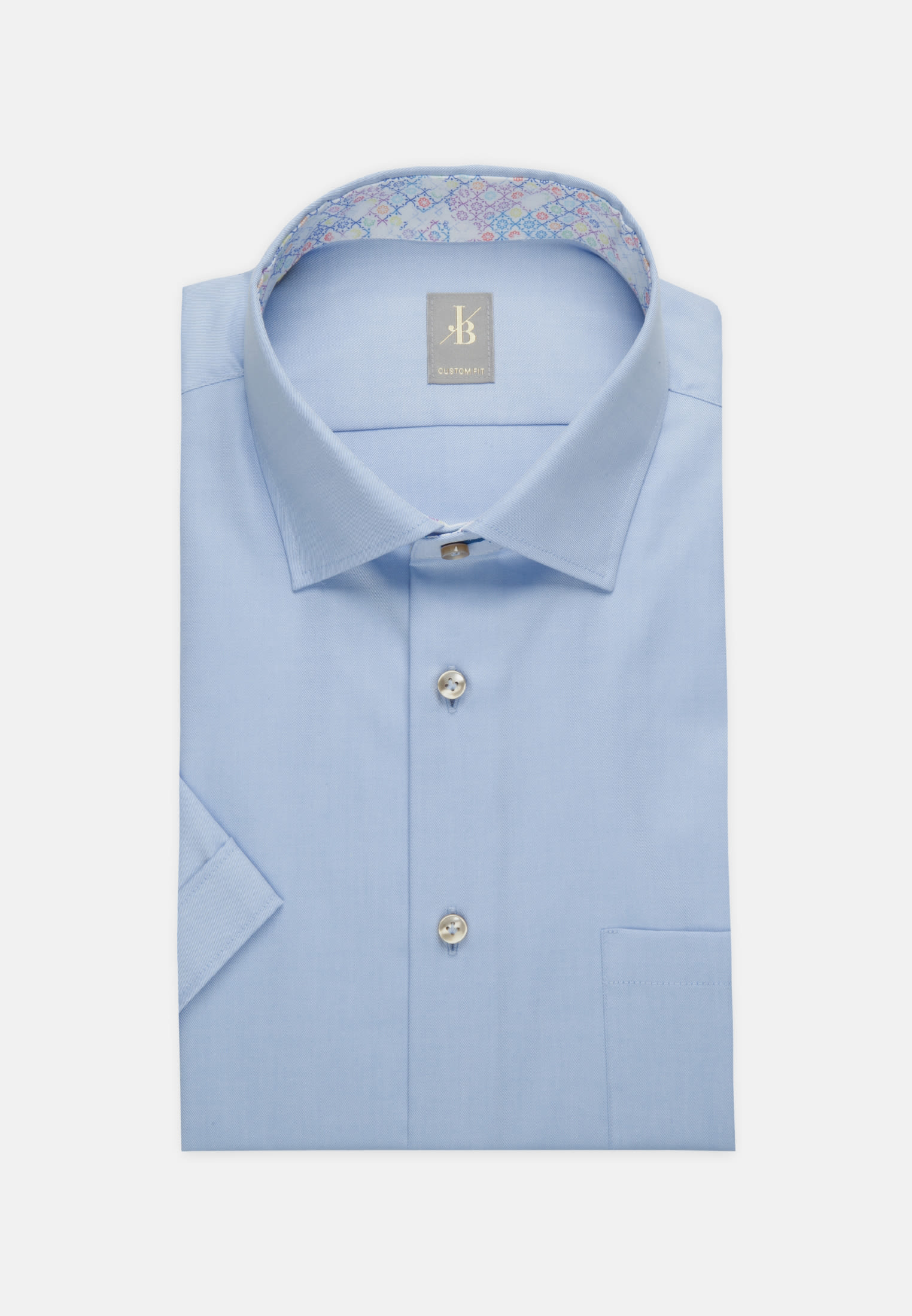 Kurzarm Twill Business Hemd in Custom Fit mit Kentkragen in Hellblau |  Jacques Britt Onlineshop