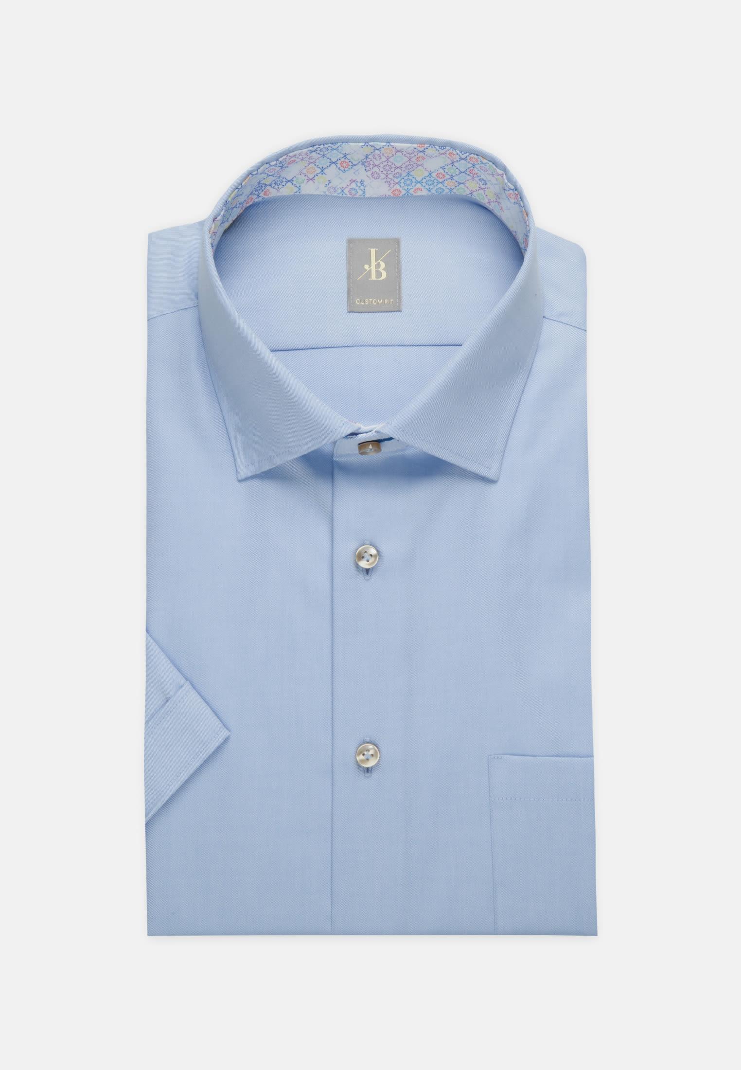 Kurzarm Twill Business Hemd in Custom Fit mit Kentkragen in Hellblau    Jacques Britt Onlineshop