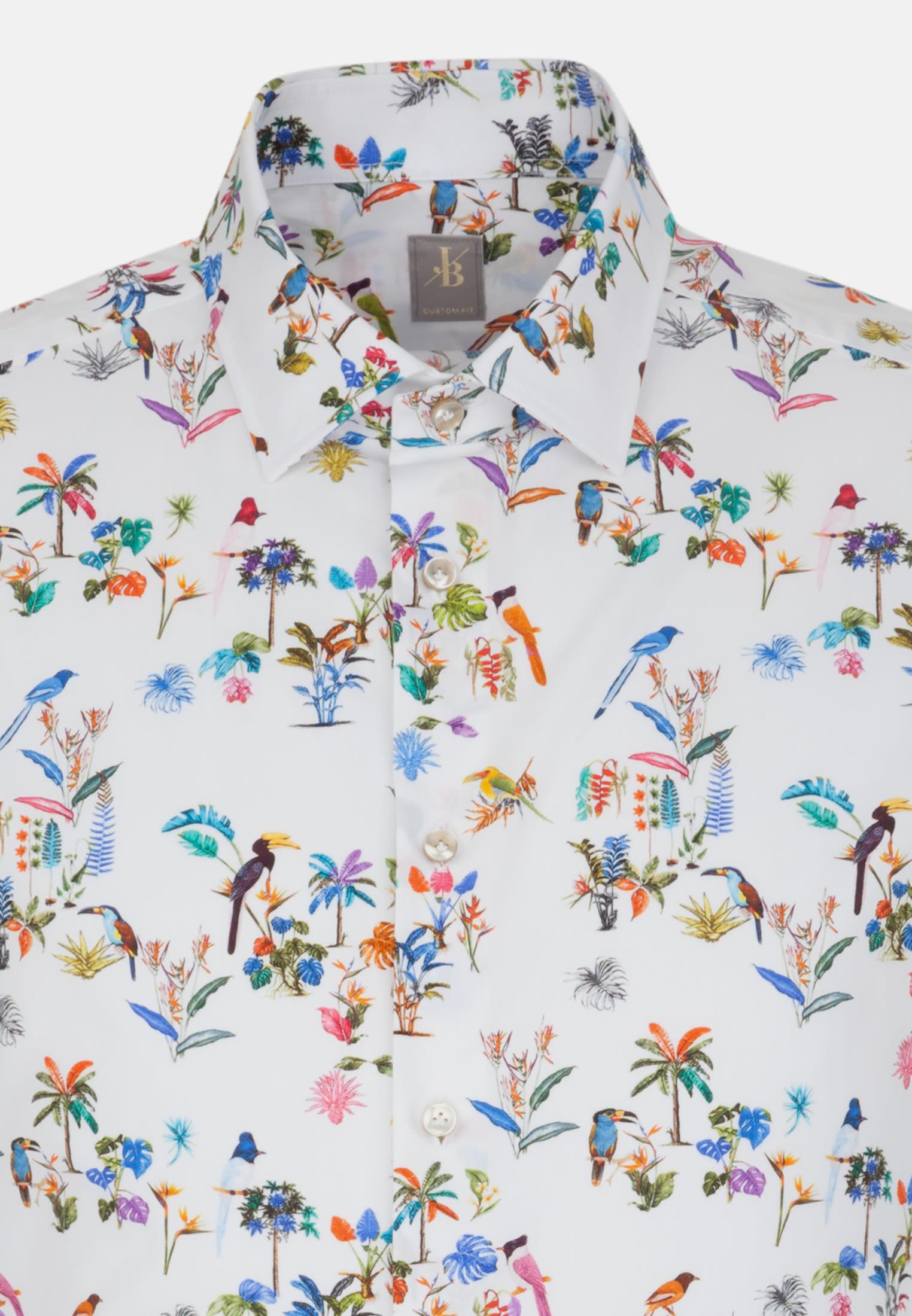 Kurzarm Popeline Business Hemd in Custom Fit mit Kentkragen in Mittelblau |  Jacques Britt Onlineshop