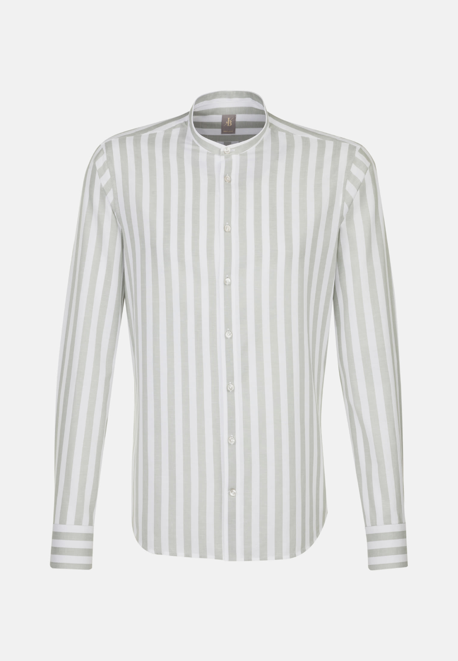 Popeline Smart Casual Hemd in Perfect Fit mit Stehkragen in Beige    Jacques Britt Onlineshop