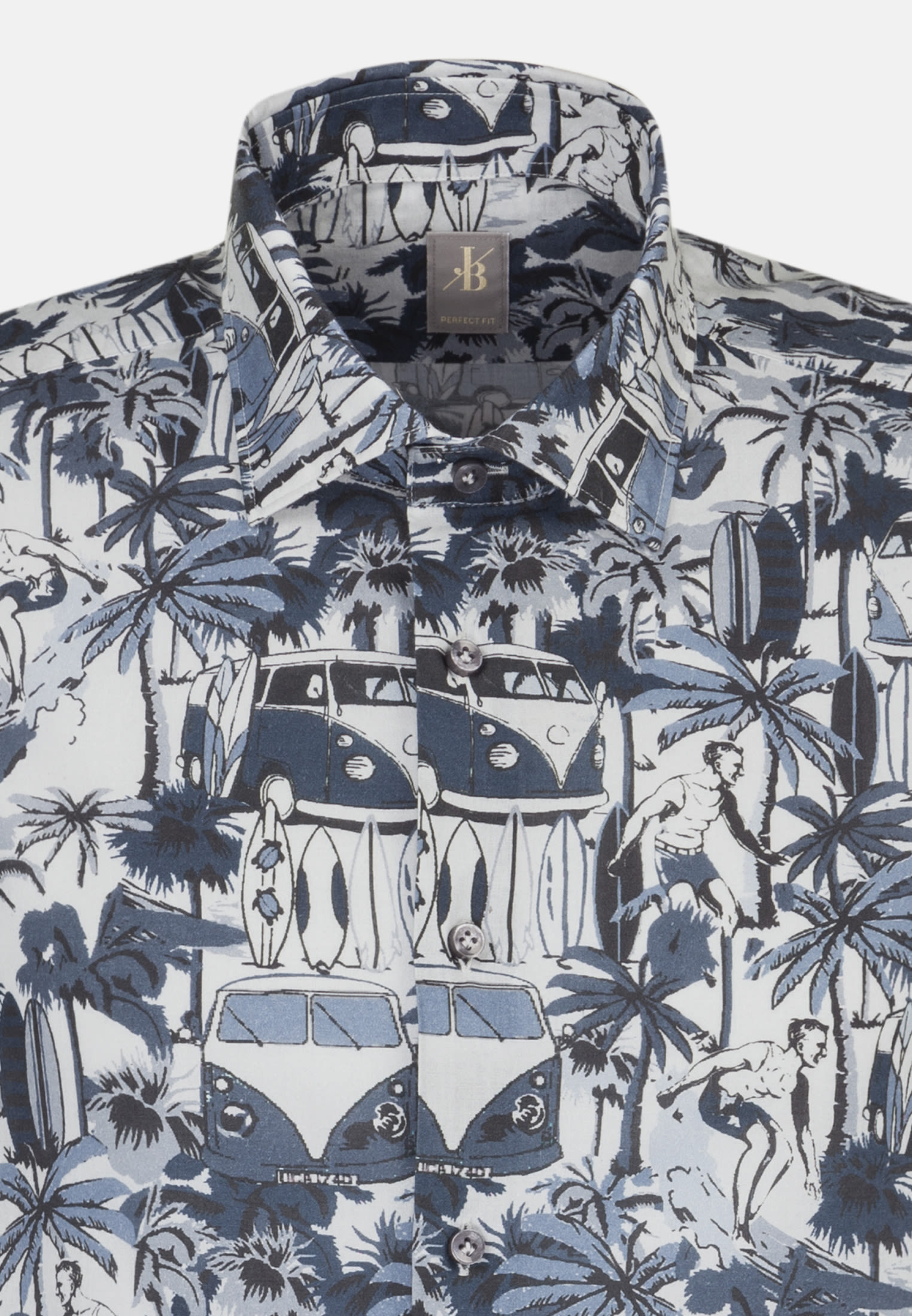 Popeline Smart Casual Hemd in Perfect Fit mit Kentkragen in Dunkelblau |  Jacques Britt Onlineshop