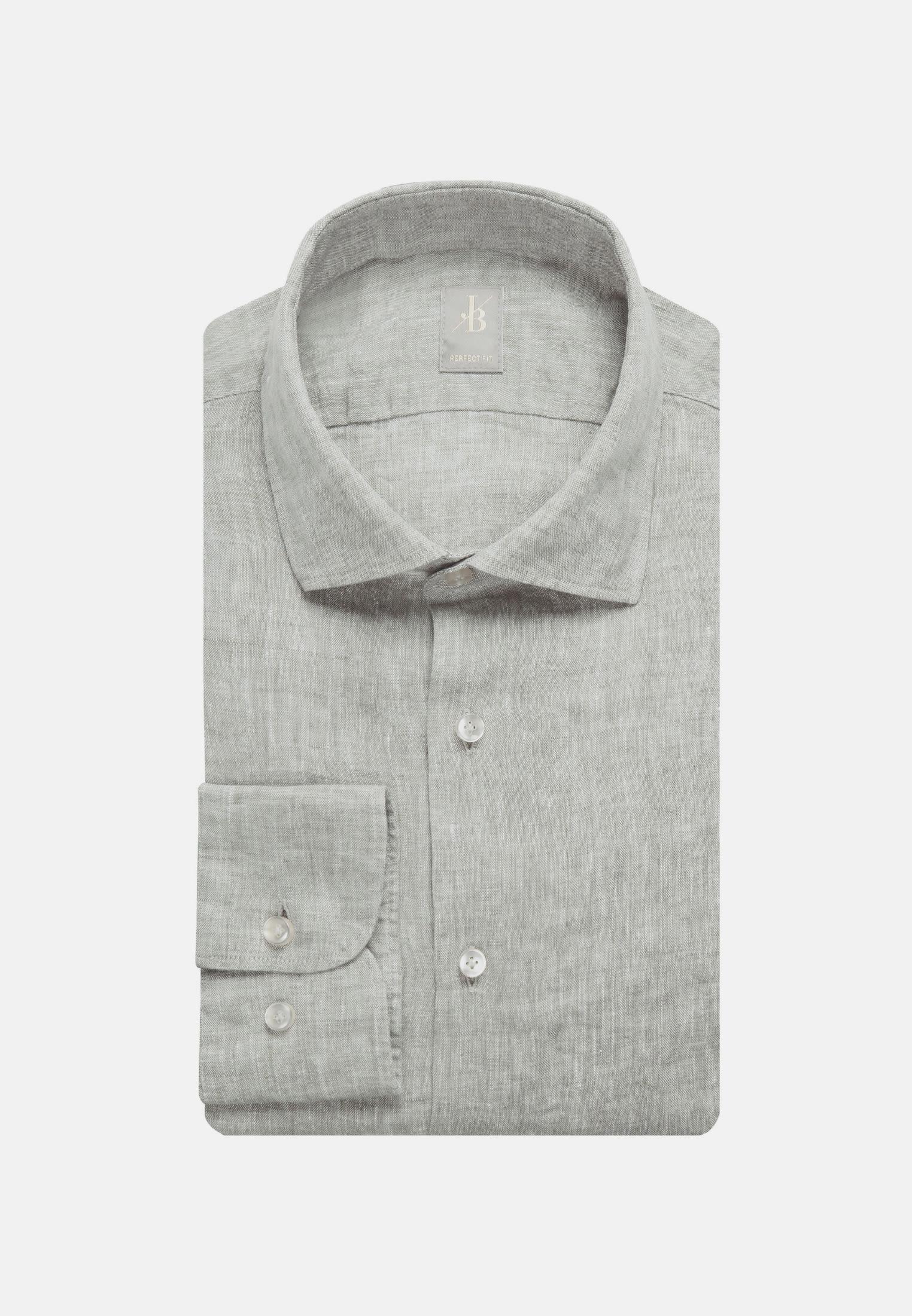 Leinen Smart Casual Hemd in Perfect Fit mit Kentkragen in Grün |  Jacques Britt Onlineshop