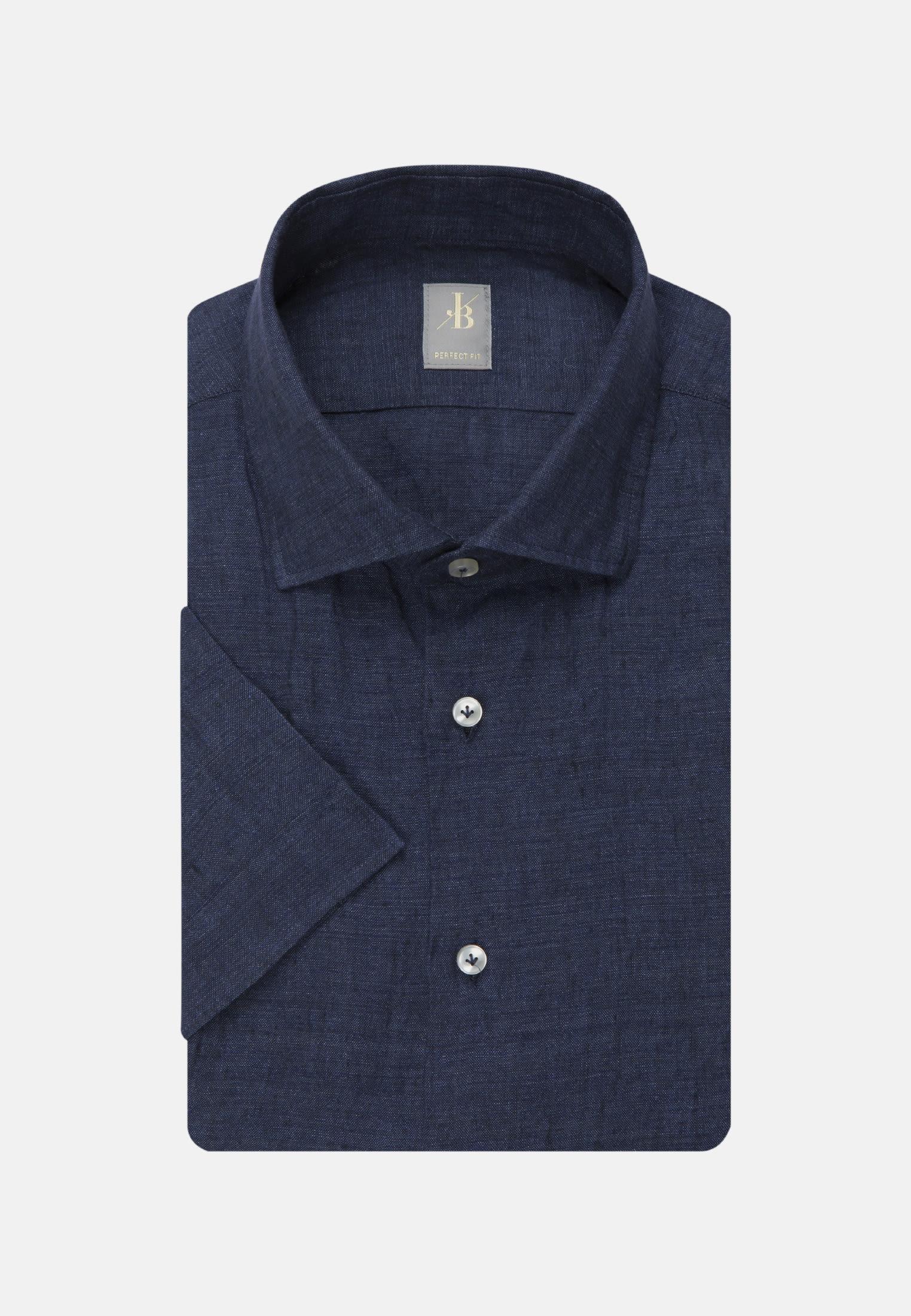 Leinen Smart Casual Hemd in Perfect Fit mit Kentkragen in Dunkelblau    Jacques Britt Onlineshop