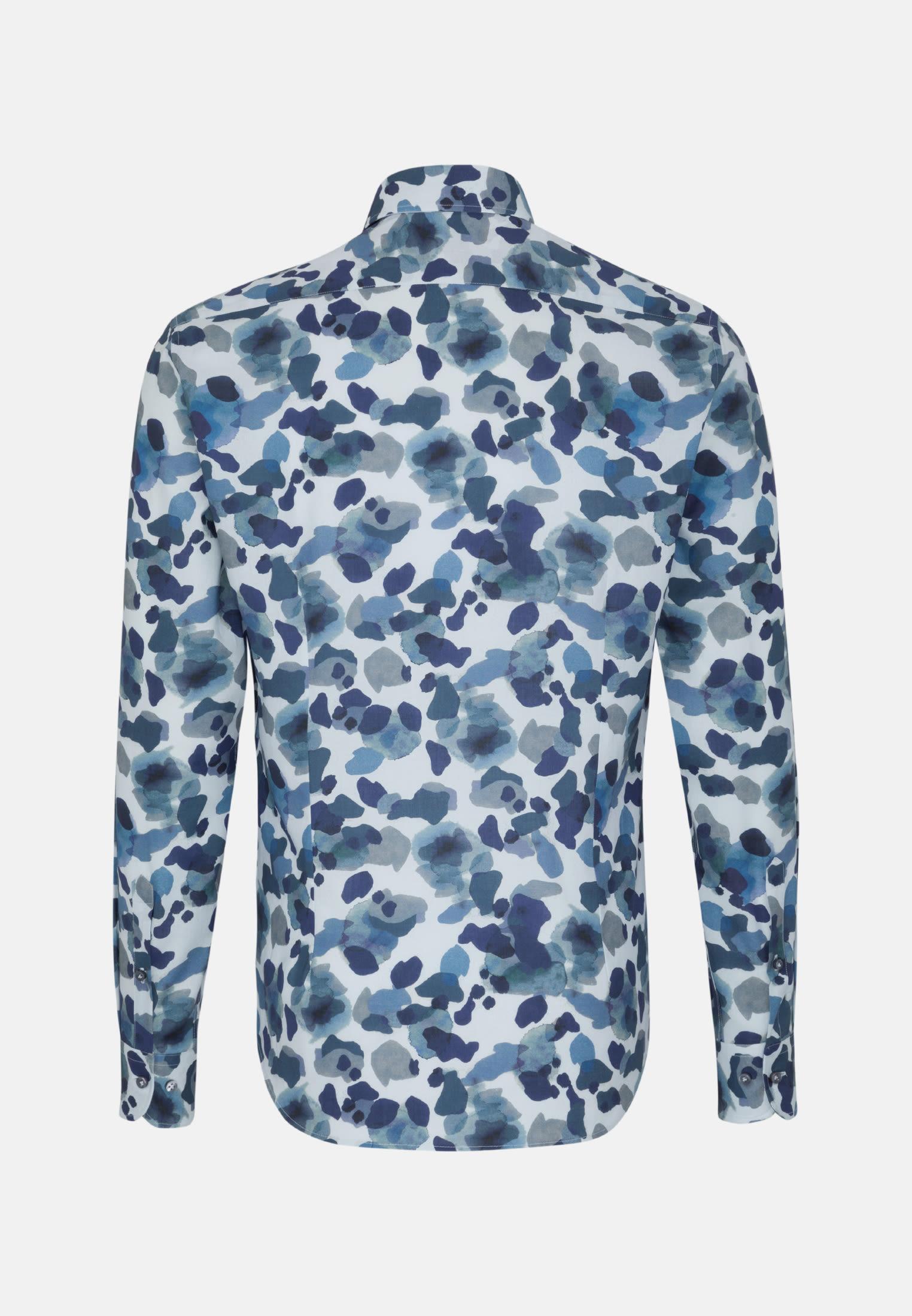 Popeline Smart Casual Hemd in Perfect Fit mit Haifischkragen in Dunkelblau    Jacques Britt Onlineshop