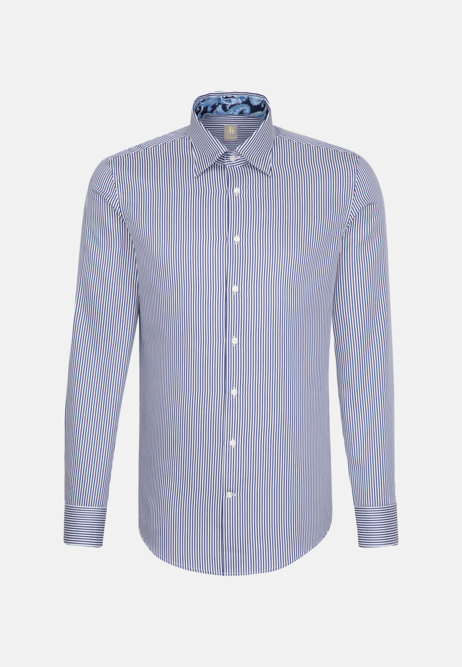 Satin Business Hemd in Custom Fit mit Under-Button-Down-Kragen in Dunkelblau |  Jacques Britt Onlineshop