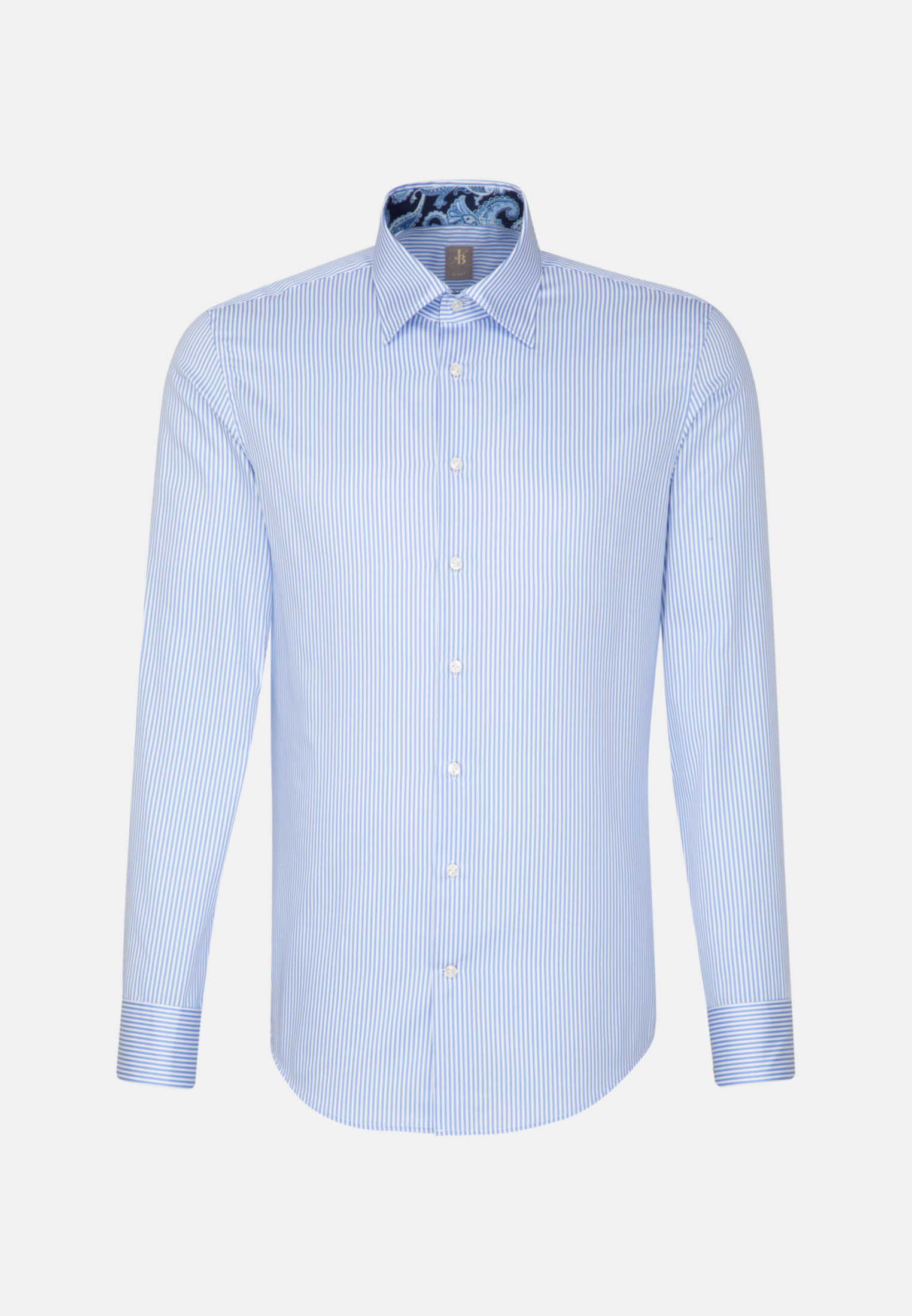 Satin Business Hemd in Slim Fit mit Under-Button-Down-Kragen in Hellblau |  Jacques Britt Onlineshop