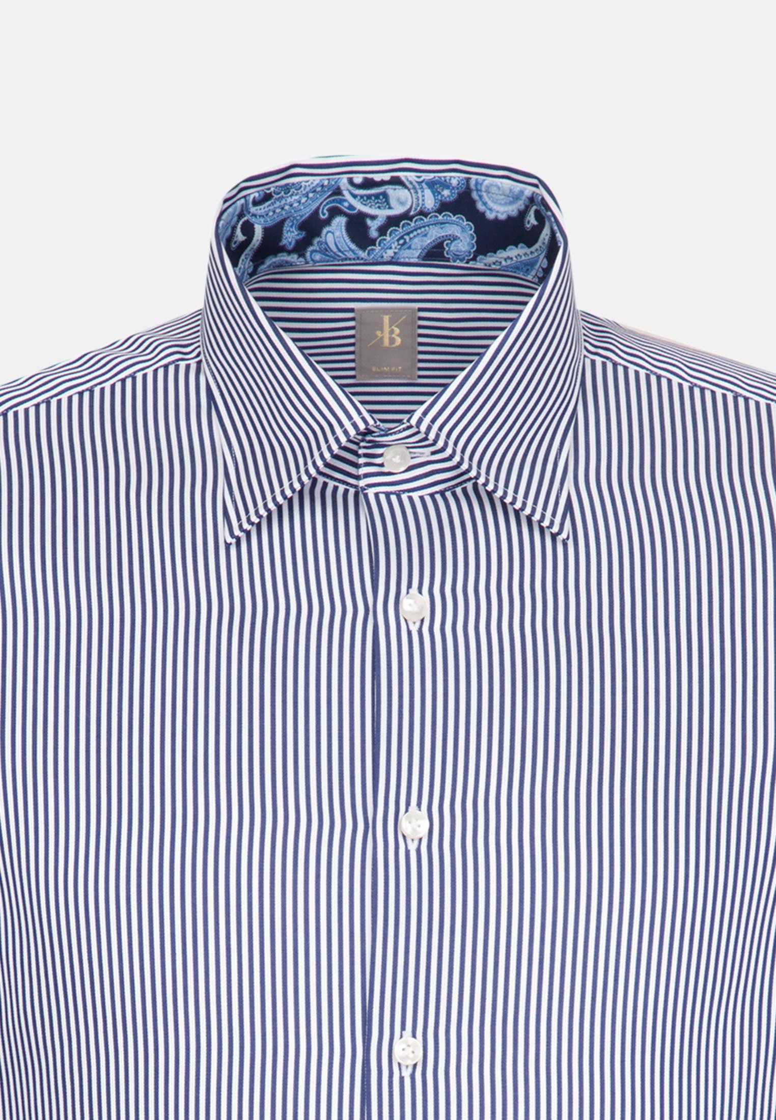 Satin Business Hemd in Slim Fit mit Under-Button-Down-Kragen in Dunkelblau |  Jacques Britt Onlineshop
