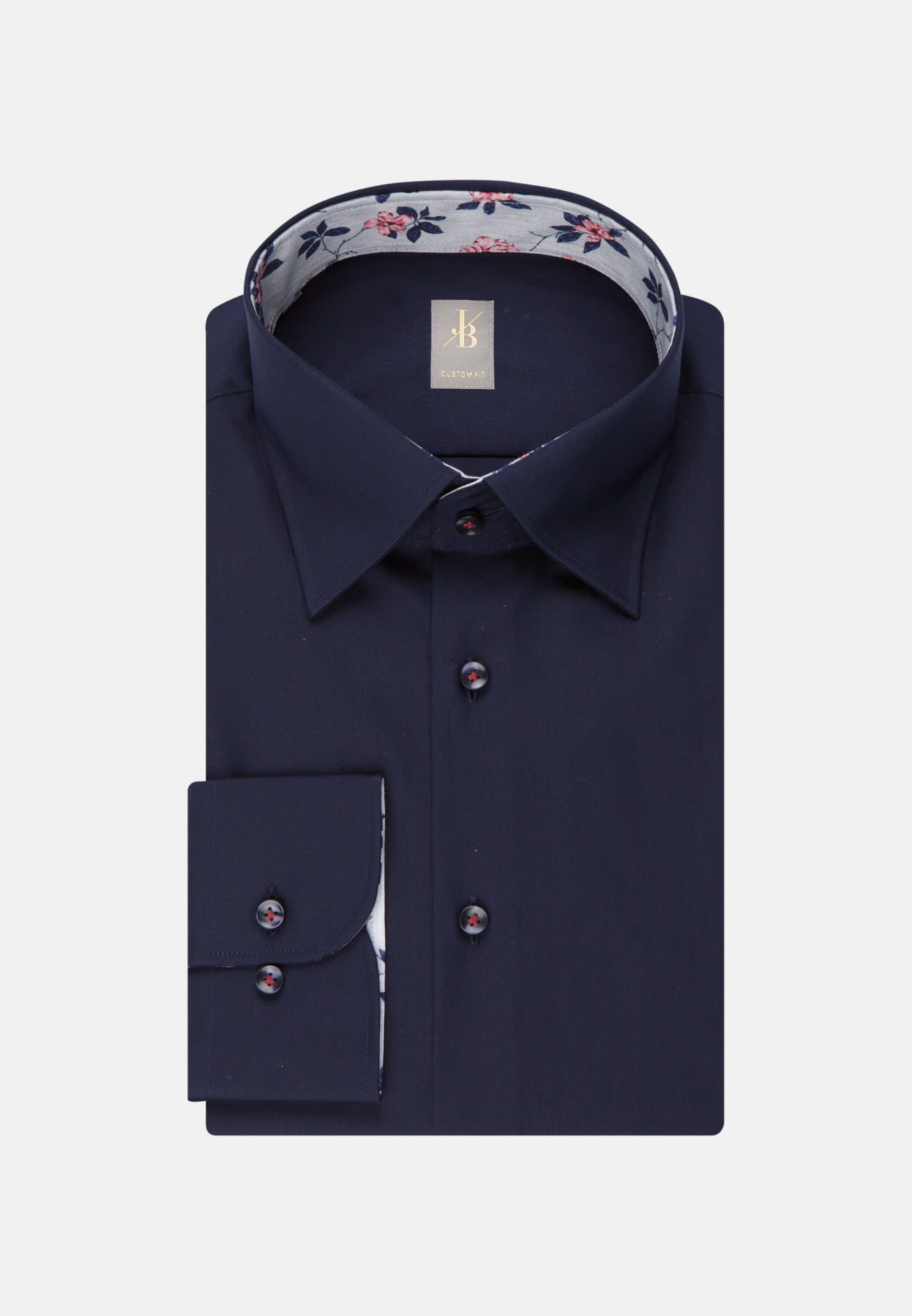 Twill Business Hemd in Custom Fit mit Under-Button-Down-Kragen in Dunkelblau |  Jacques Britt Onlineshop