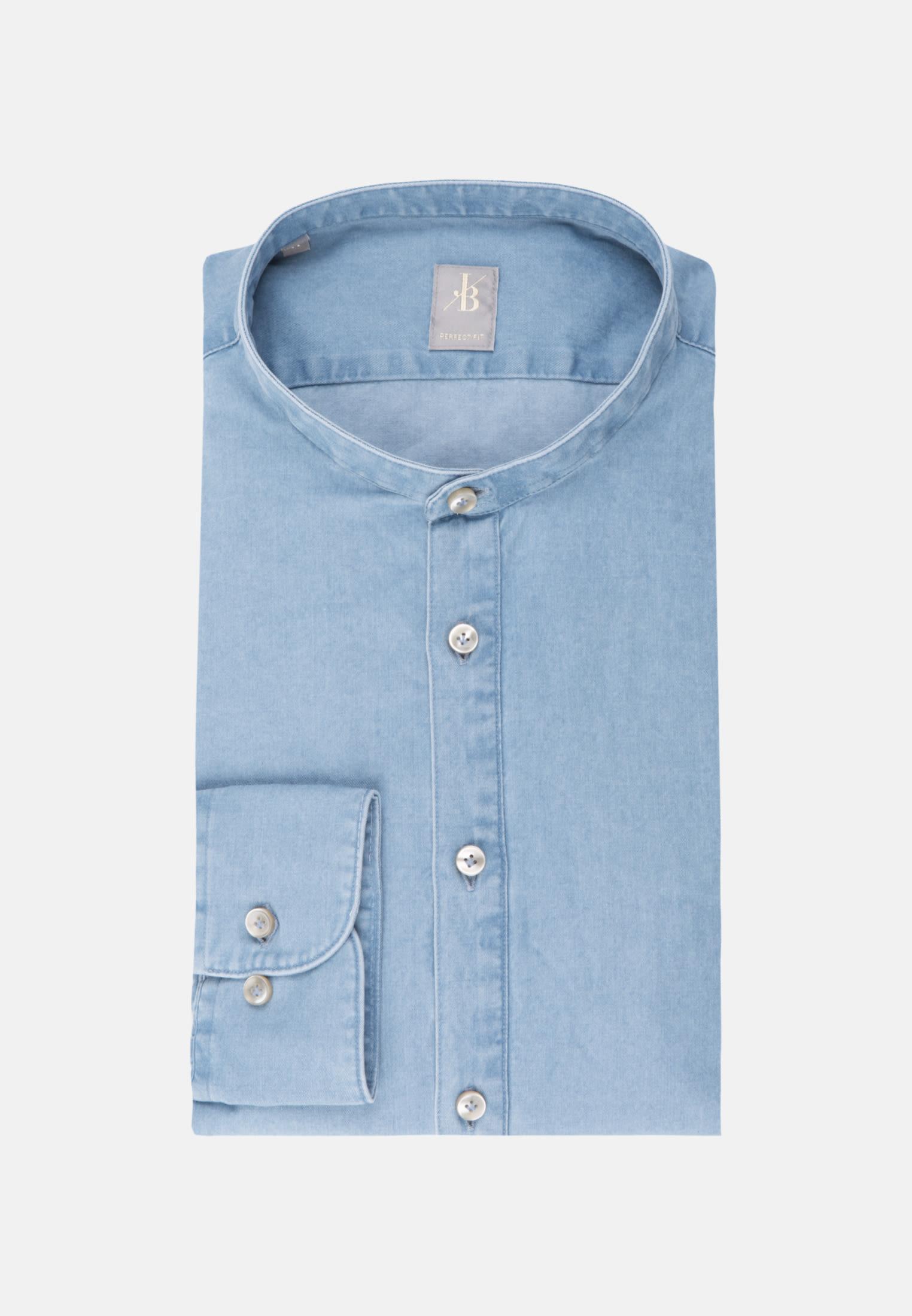 Denim Smart Casual Hemd in Perfect Fit mit Stehkragen in Hellblau |  Jacques Britt Onlineshop