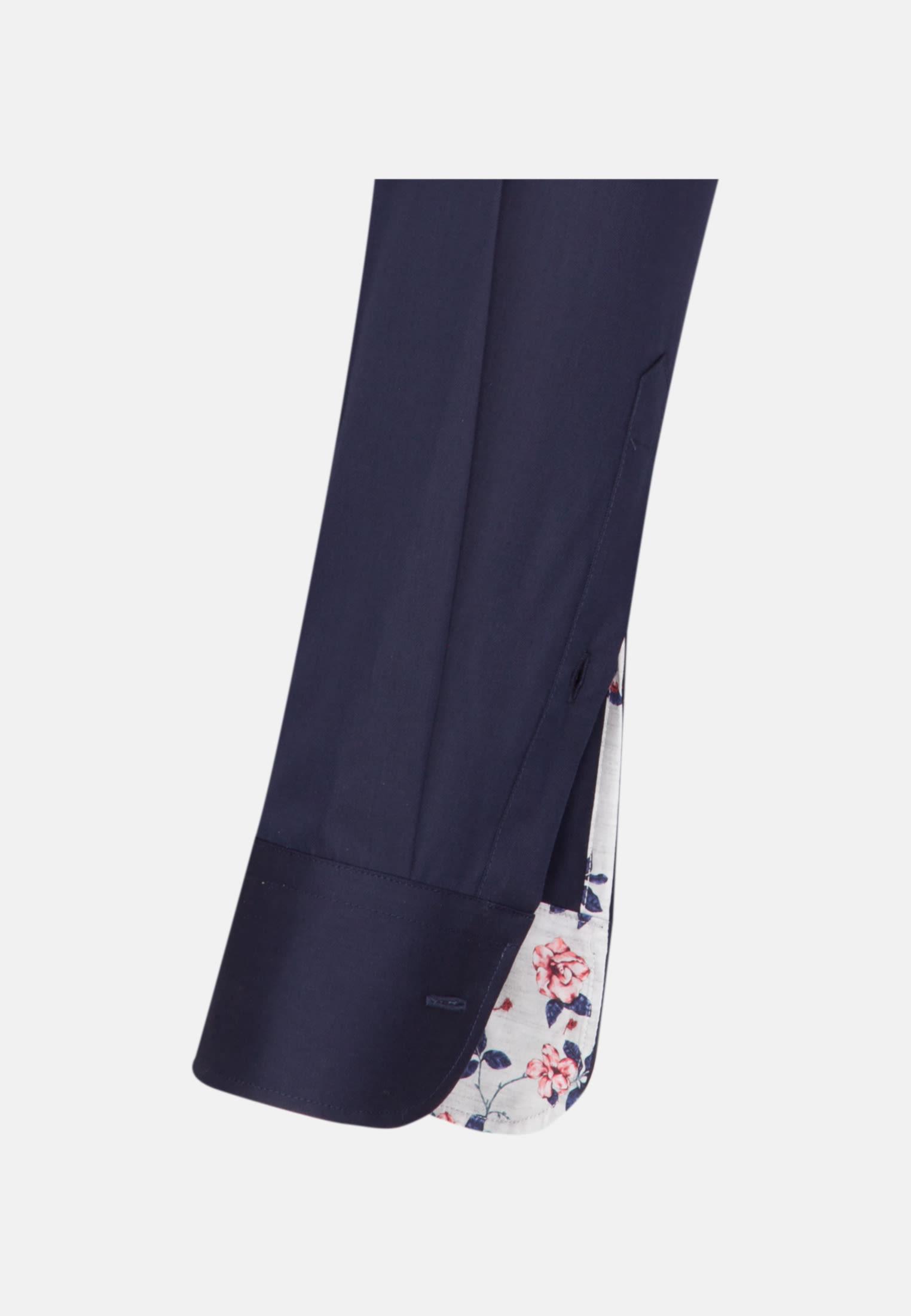 Twill Business Hemd in Slim Fit mit Under-Button-Down-Kragen in Dunkelblau |  Jacques Britt Onlineshop