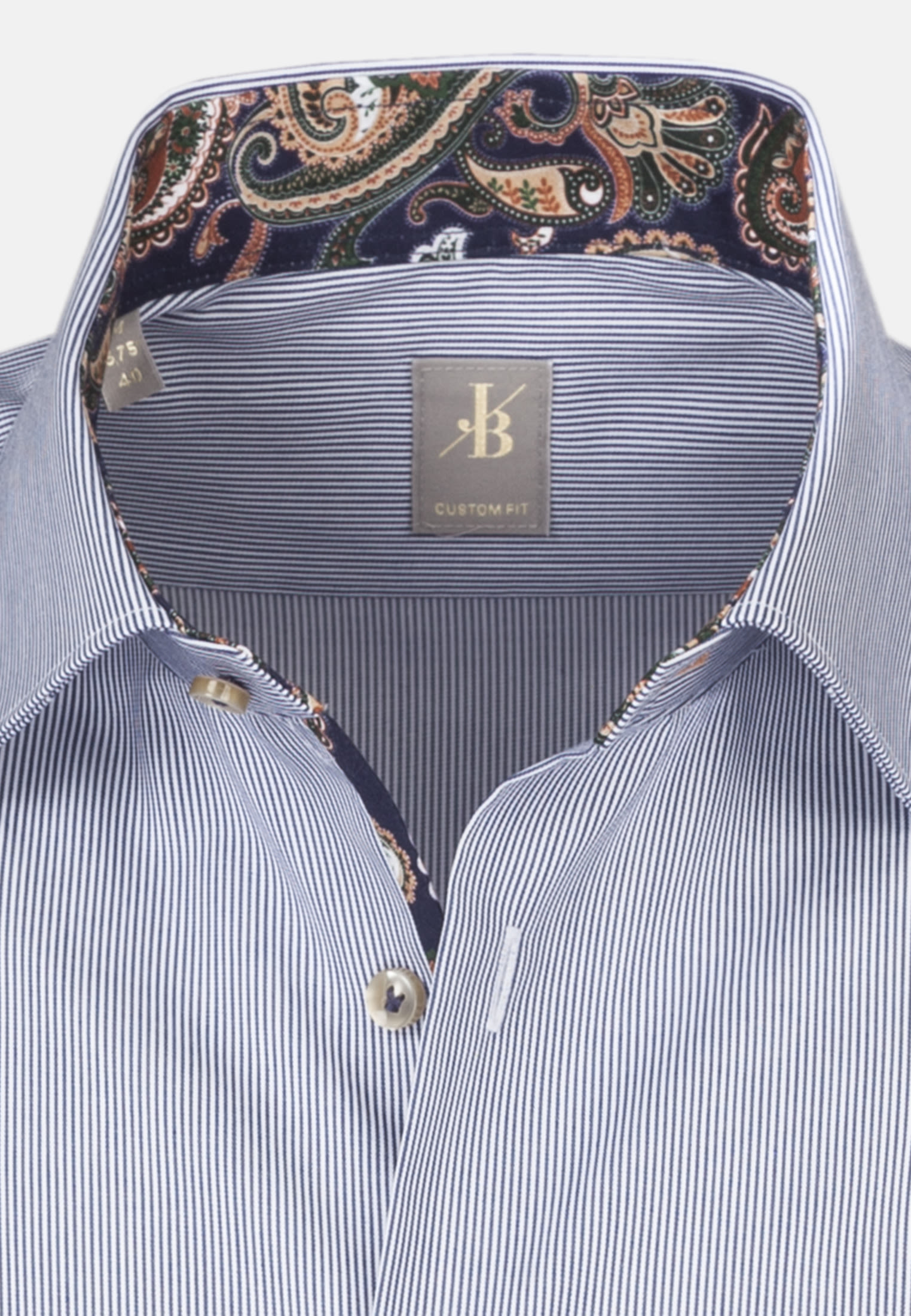 Twill Business Hemd in Custom Fit mit Kentkragen in Mittelblau |  Jacques Britt Onlineshop