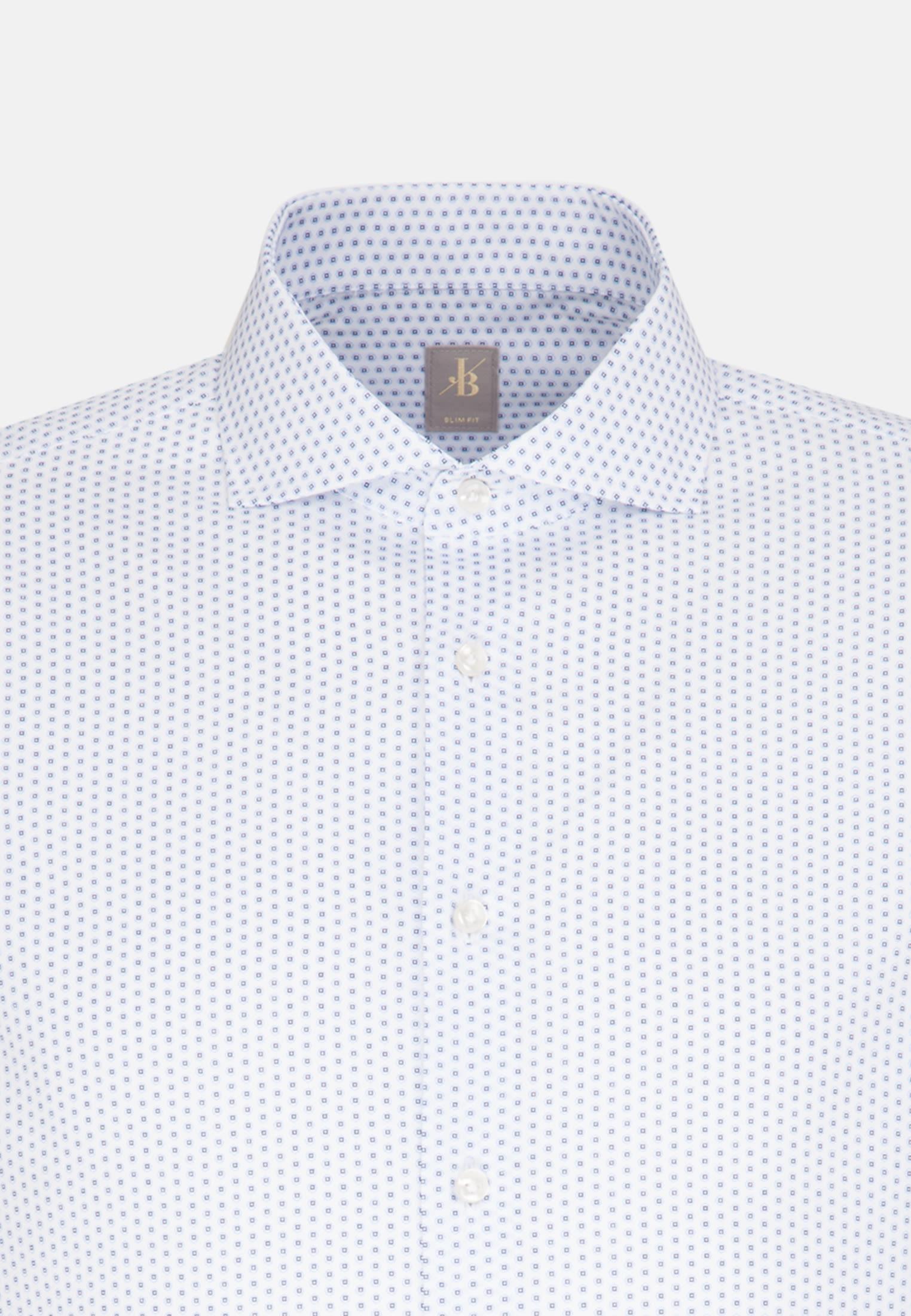Satin Business Hemd in Slim Fit mit Haifischkragen und extra langem Arm in Mittelblau |  Jacques Britt Onlineshop