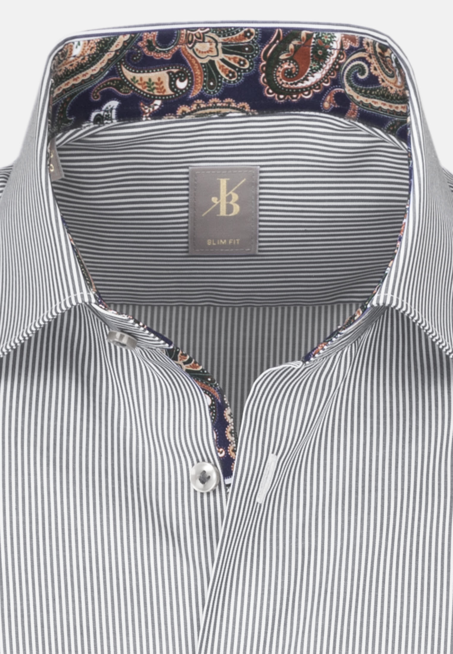 Twill Business Hemd in Slim Fit mit Kentkragen in Grau |  Jacques Britt Onlineshop