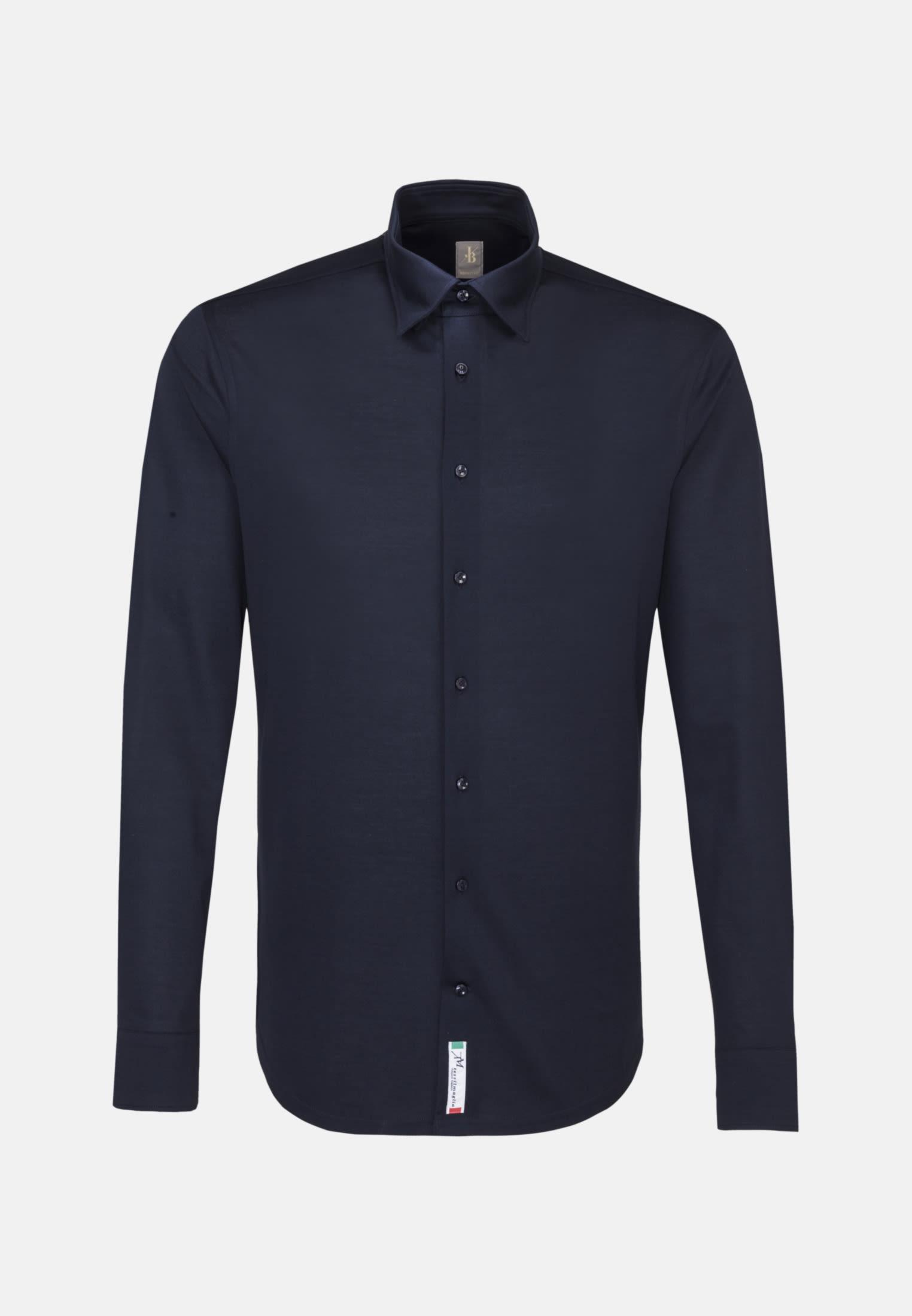 Jersey Smart Casual Hemd in Perfect Fit mit Under-Button-Down-Kragen in Dunkelblau |  Jacques Britt Onlineshop