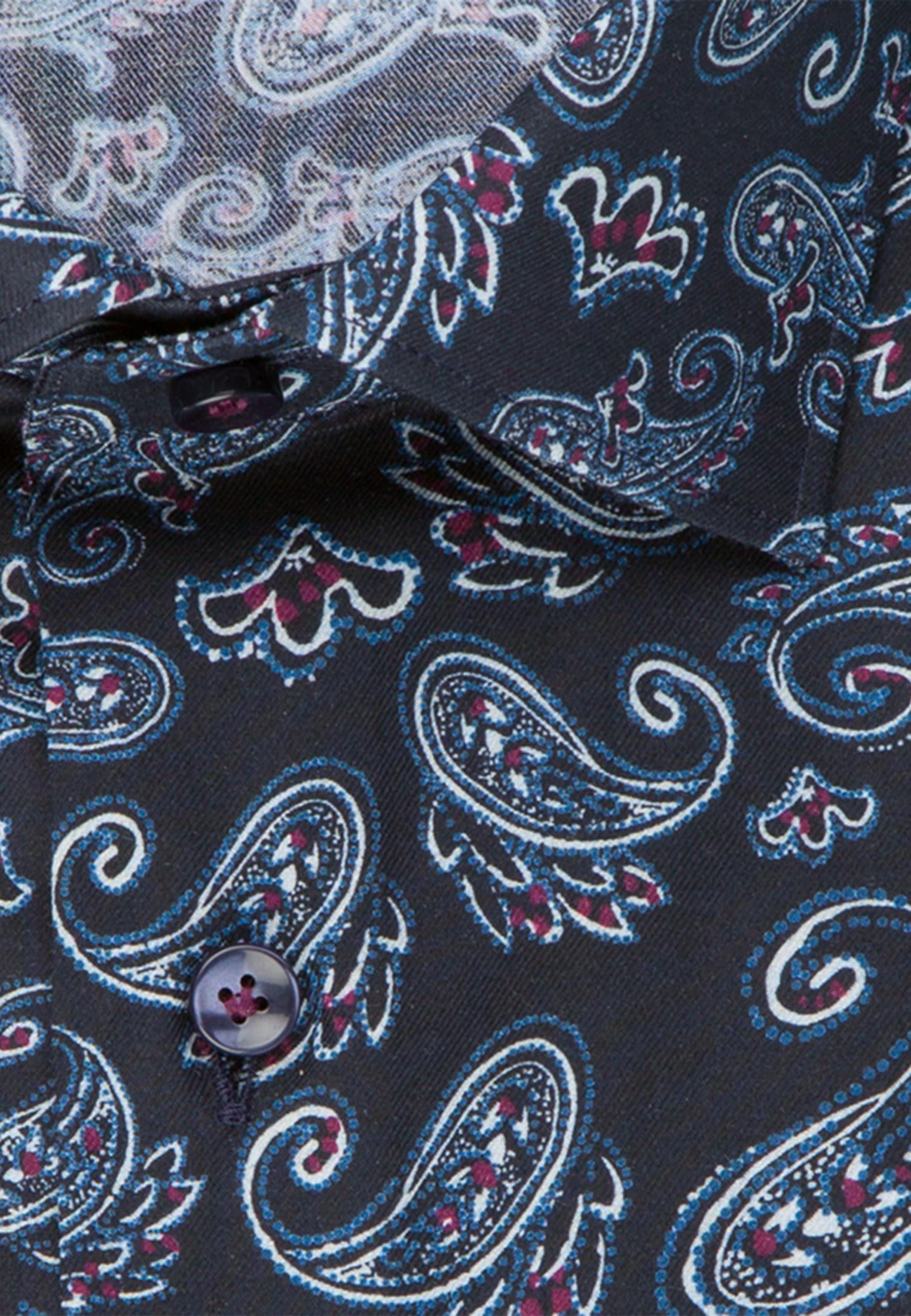 Flanell Business Hemd in Custom Fit mit Kentkragen in Dunkelblau |  Jacques Britt Onlineshop