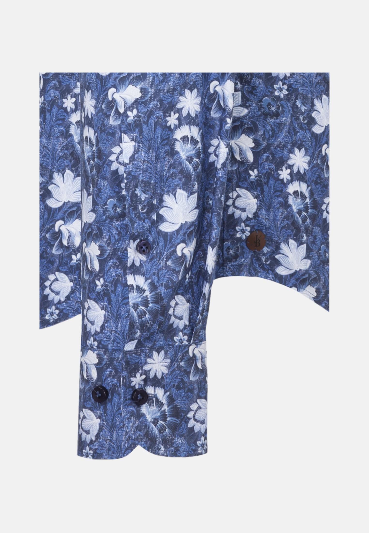 Popeline Smart Casual Hemd in Perfect Fit mit Under-Button-Down-Kragen in Mittelblau |  Jacques Britt Onlineshop