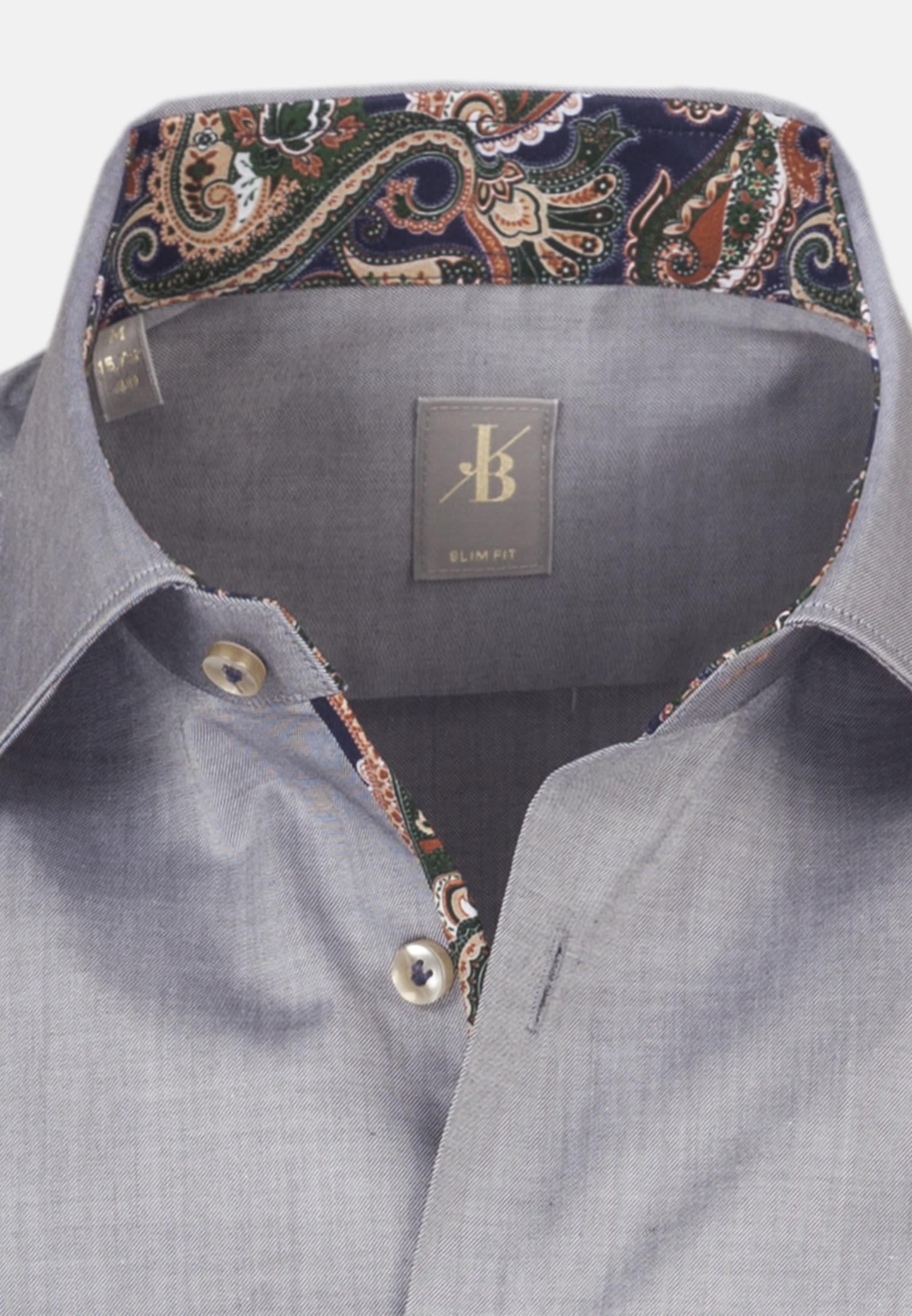 Twill Business Hemd in Slim Fit mit Kentkragen in Grau |  Jacques Britt Onlineshop