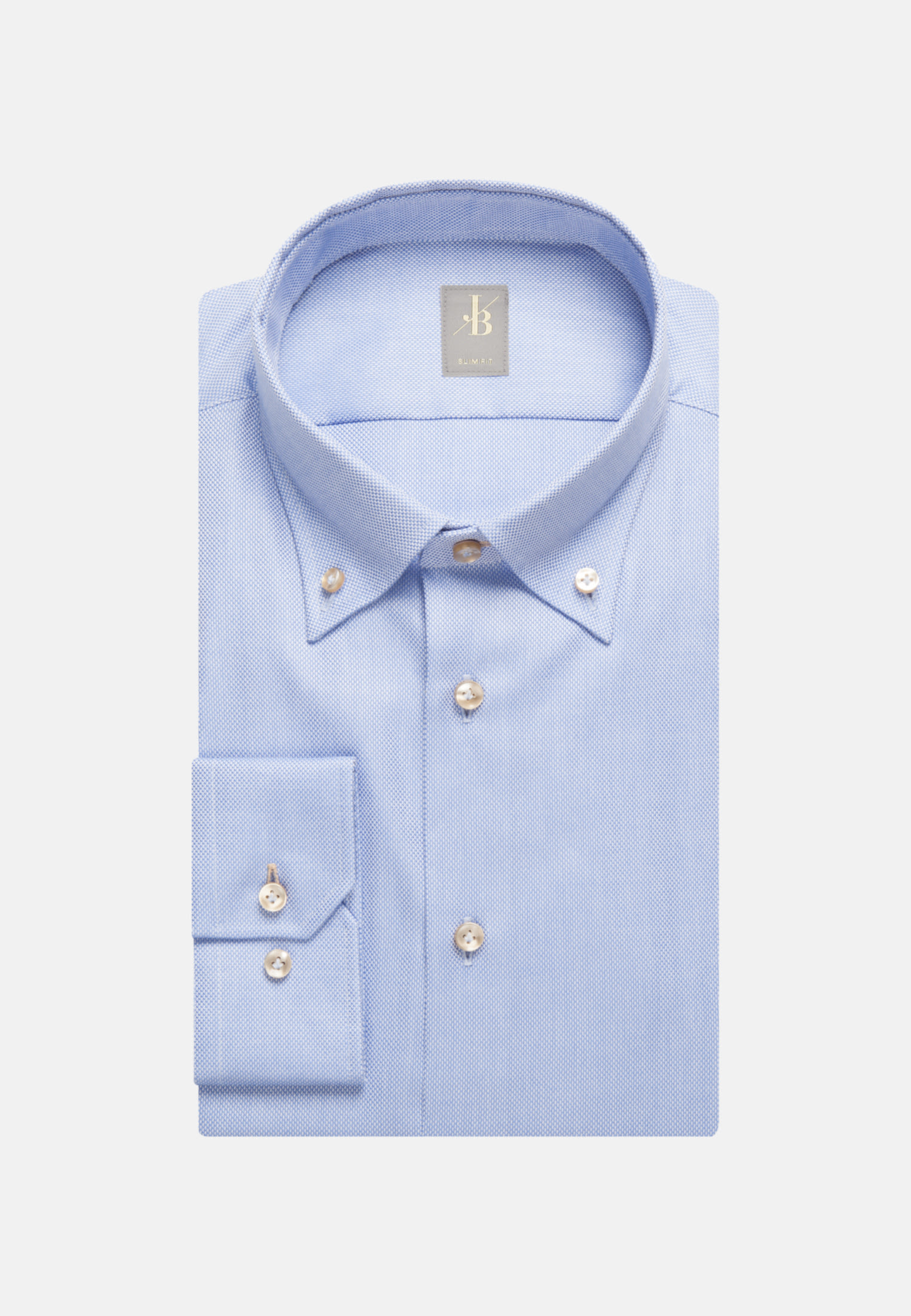 Struktur Business Hemd in Slim Fit mit Button-Down-Kragen in Hellblau |  Jacques Britt Onlineshop