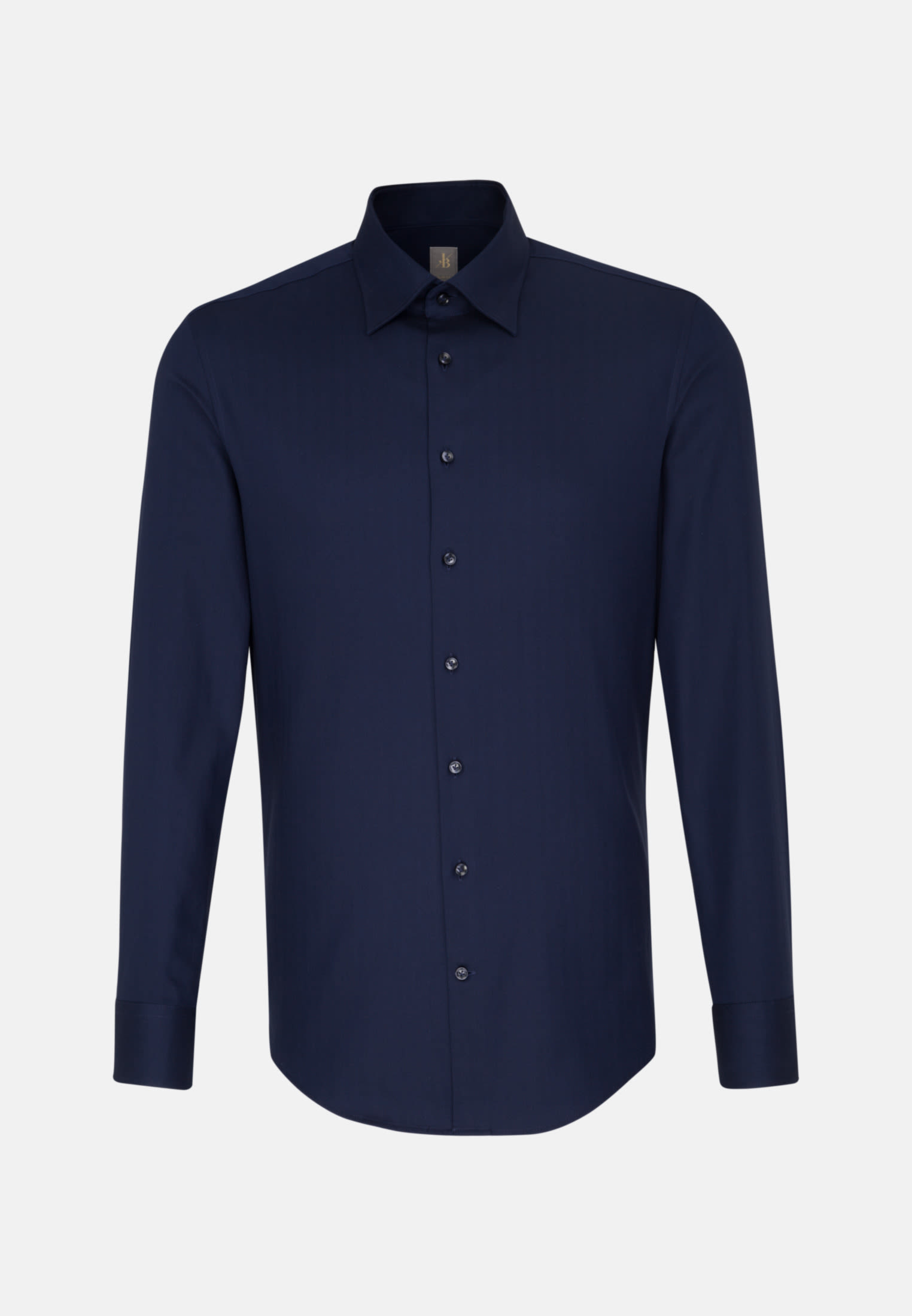 Struktur Business Hemd in Slim Fit mit Under-Button-Down-Kragen in Dunkelblau |  Jacques Britt Onlineshop