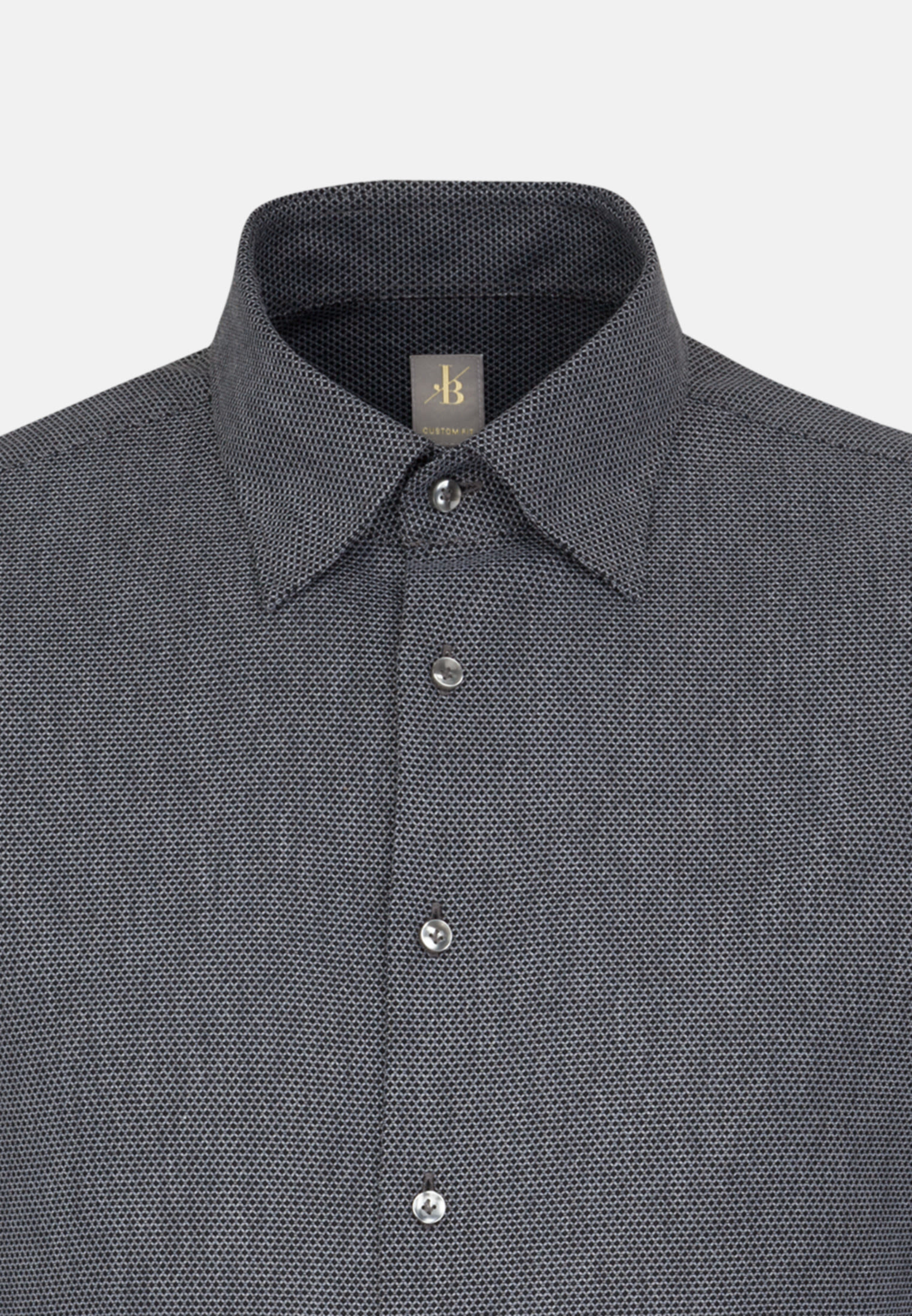 Struktur Business Hemd in Custom Fit mit Under-Button-Down-Kragen in Grau |  Jacques Britt Onlineshop