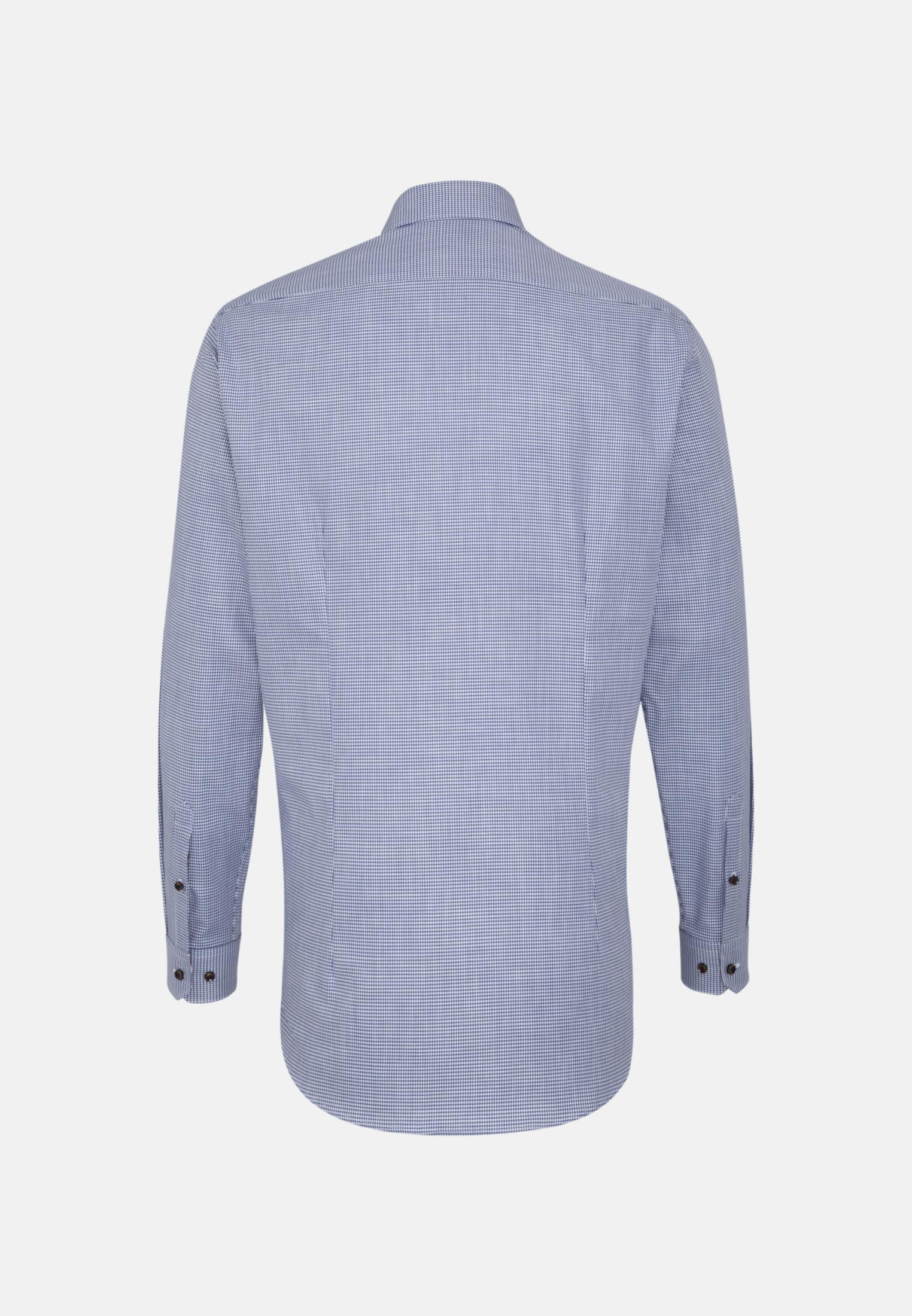 Hahnentritt Business Hemd in Custom Fit mit Kentkragen und extra langem Arm in Mittelblau |  Jacques Britt Onlineshop