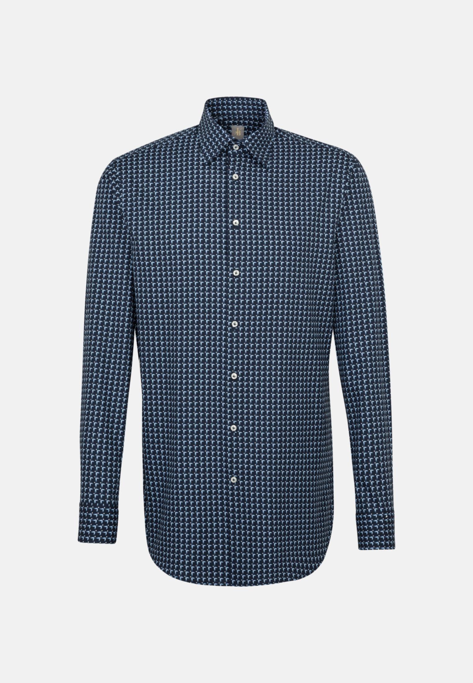 Popeline Business Hemd in Custom Fit mit Under-Button-Down-Kragen und extra langem Arm in Mittelblau |  Jacques Britt Onlineshop