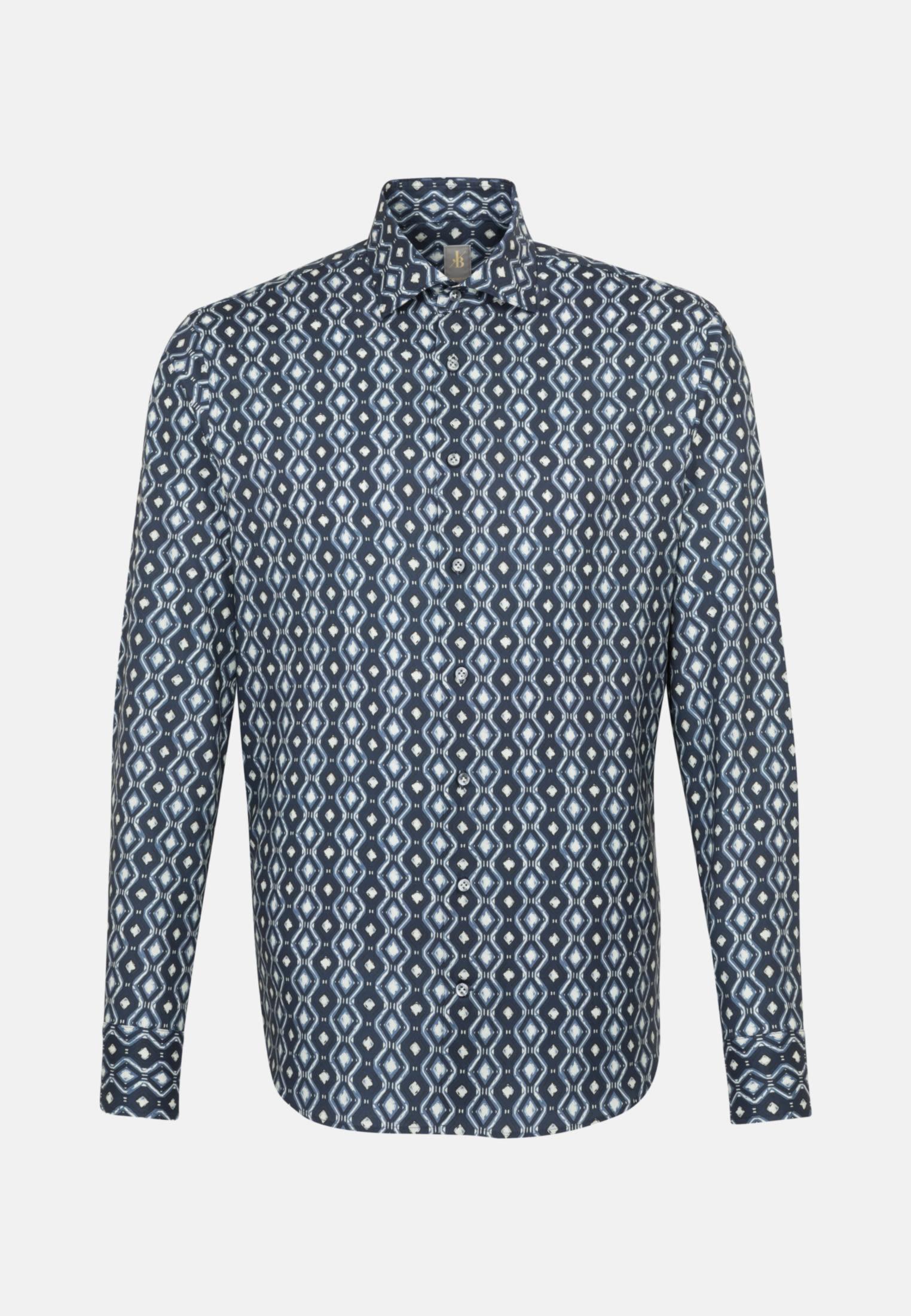 Twill Smart Casual Hemd in Perfect Fit mit Kentkragen in Dunkelblau |  Jacques Britt Onlineshop