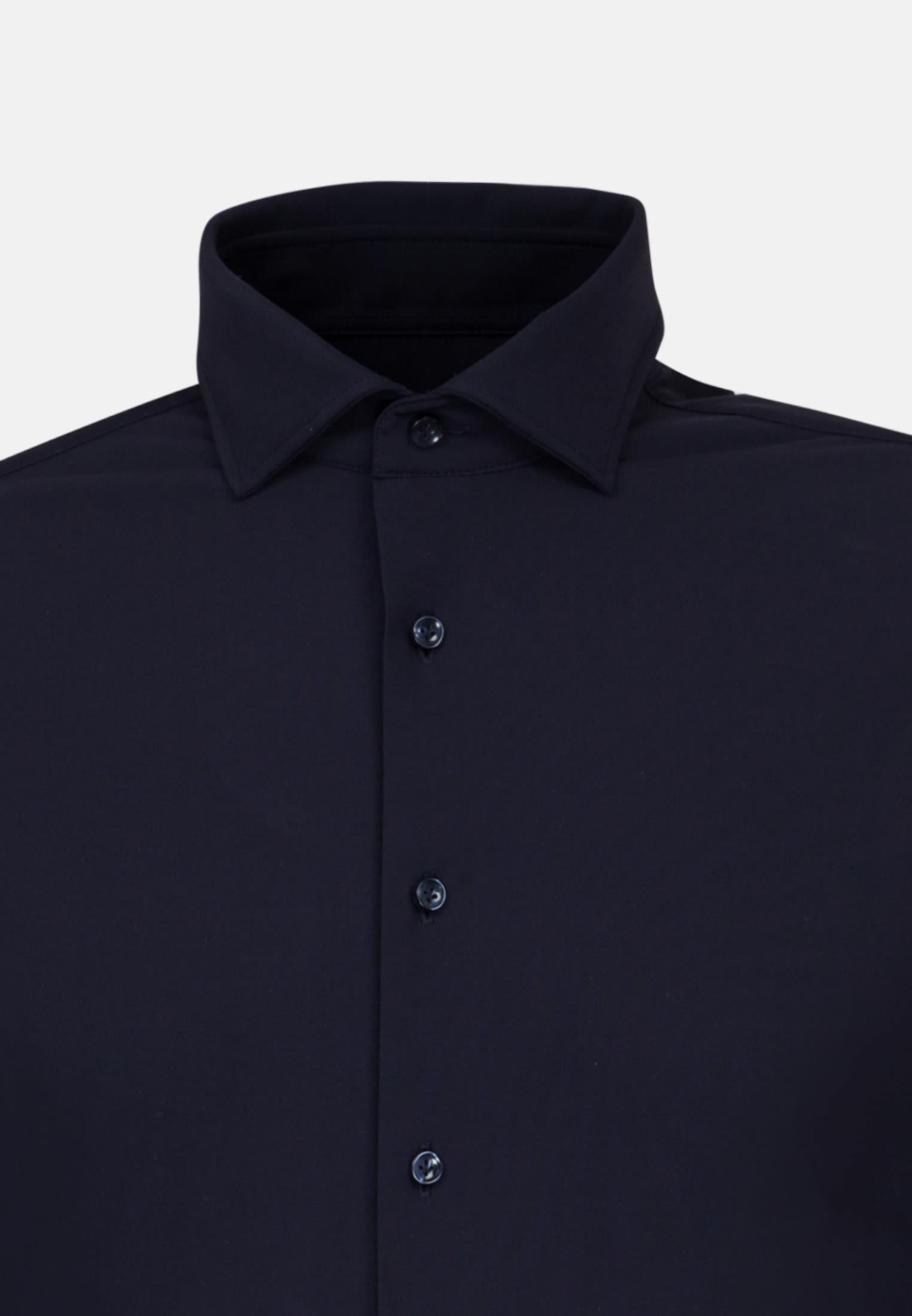 Jersey Smart Casual Hemd in Perfect Fit mit Haifischkragen in Dunkelblau |  Jacques Britt Onlineshop