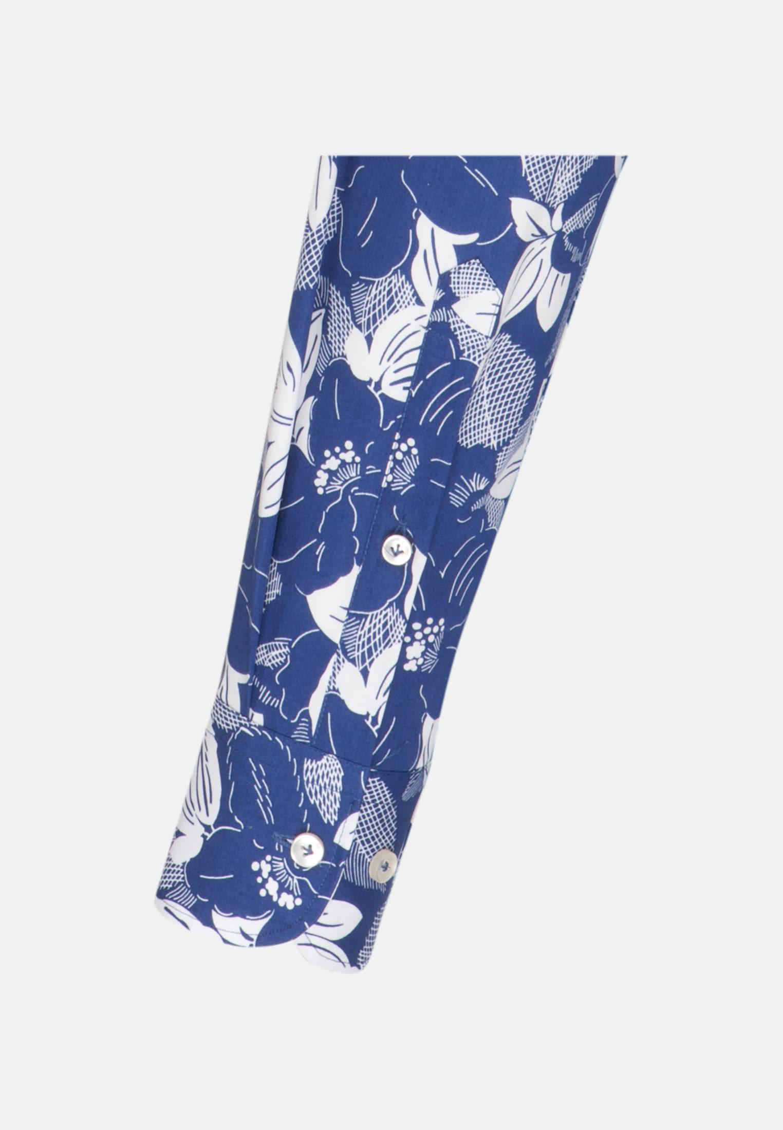 Popeline Business Hemd in Slim Fit mit Under-Button-Down-Kragen in Mittelblau |  Jacques Britt Onlineshop