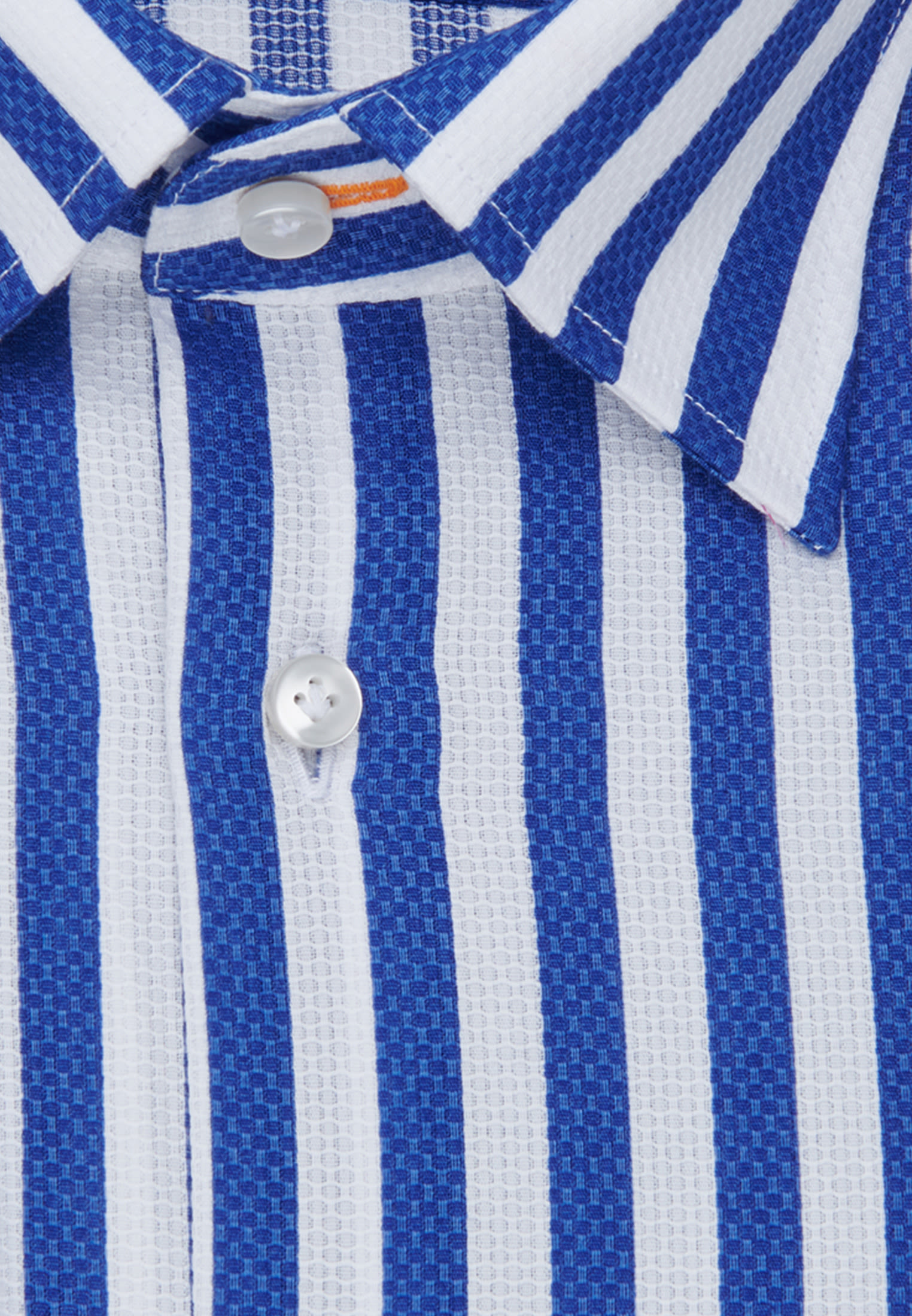 Struktur Business Hemd in Slim Fit mit Under-Button-Down-Kragen in Mittelblau    Jacques Britt Onlineshop