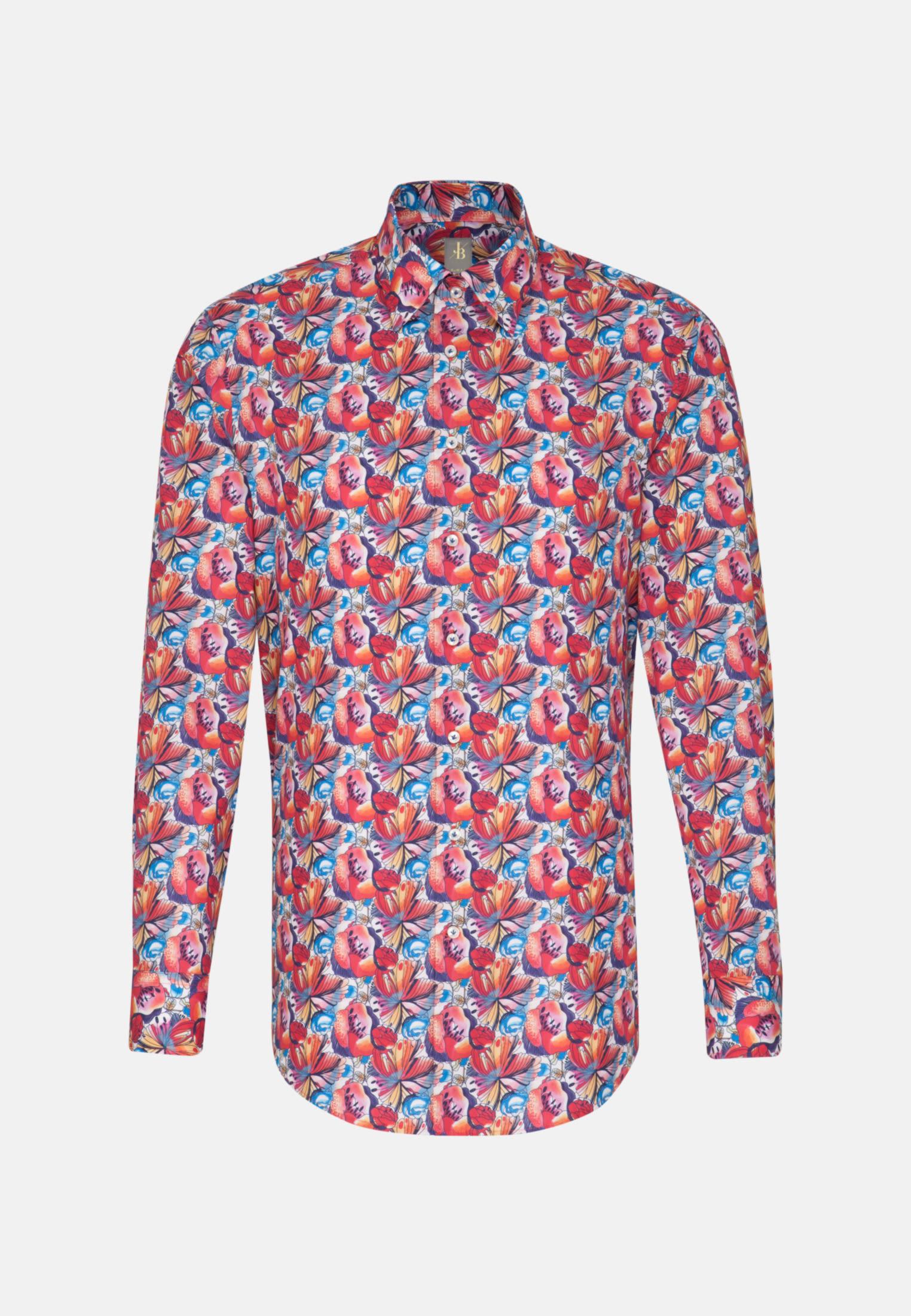 Popeline Business Hemd in Slim Fit mit Under-Button-Down-Kragen in Rot    Jacques Britt Onlineshop
