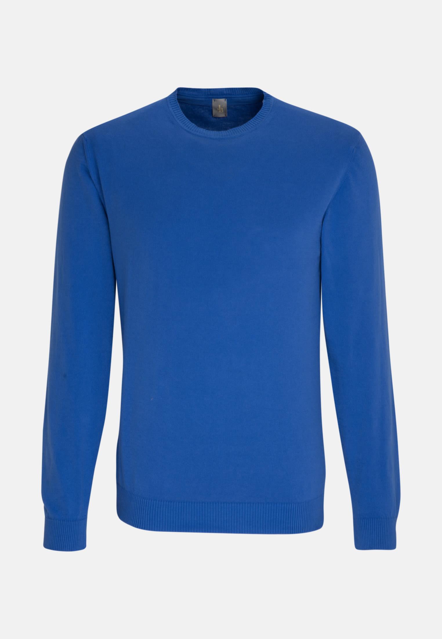 Rundhals Pullover aus 100% Baumwolle in Mittelblau |  Jacques Britt Onlineshop