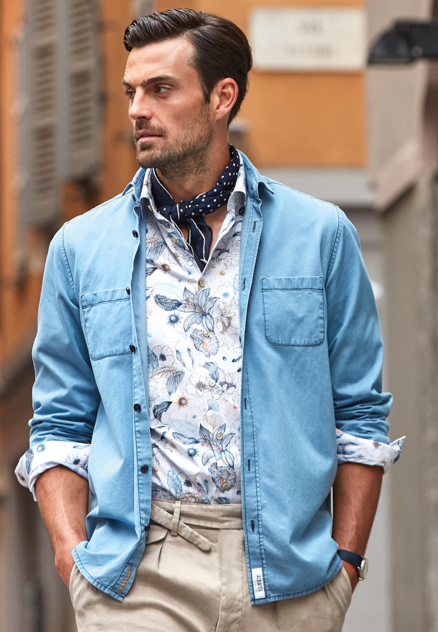 Popeline Smart Casual Hemd in Perfect Fit mit Kentkragen in Mittelblau |  Jacques Britt Onlineshop