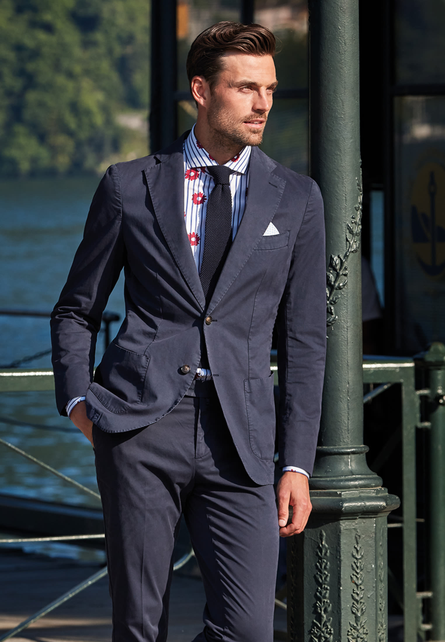 Popeline Business Hemd in Custom Fit mit Haifischkragen in Rot |  Jacques Britt Onlineshop