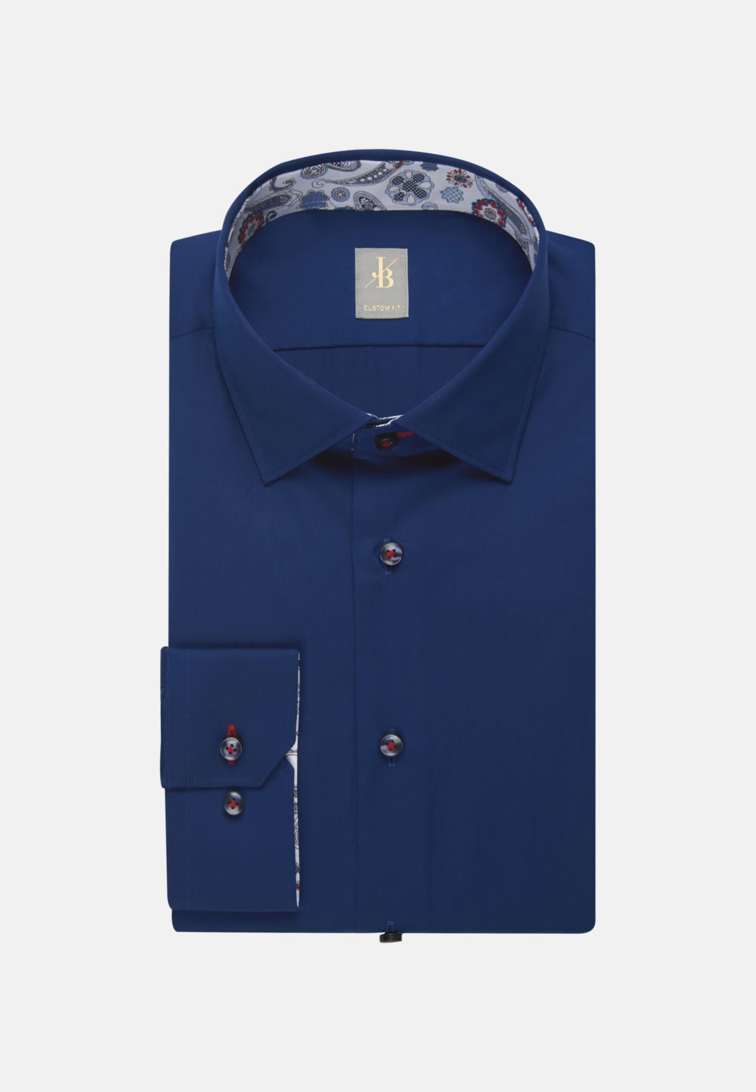 Satin Business Hemd in Custom Fit mit Kentkragen in Dunkelblau    Jacques Britt Onlineshop